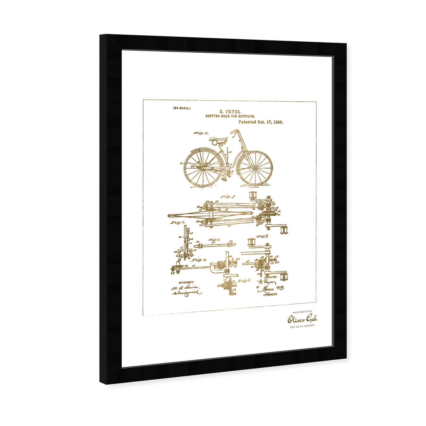 Angled view of Fryer Driving Gear for Bicycle 1893 Gold featuring transportation and bicycles art.