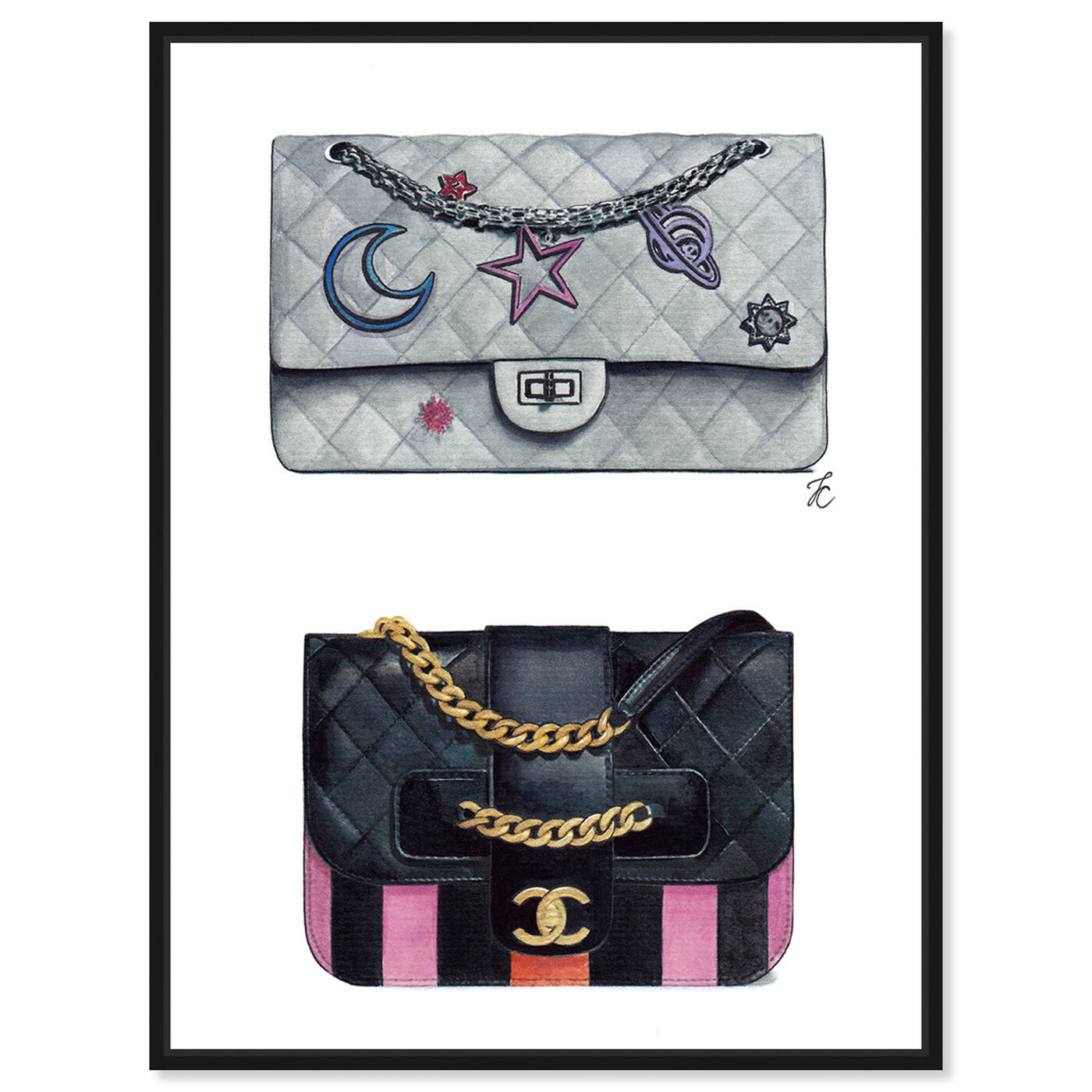 Front view of Doll Memories - Iconic Bag Beauty featuring fashion and glam and handbags art.