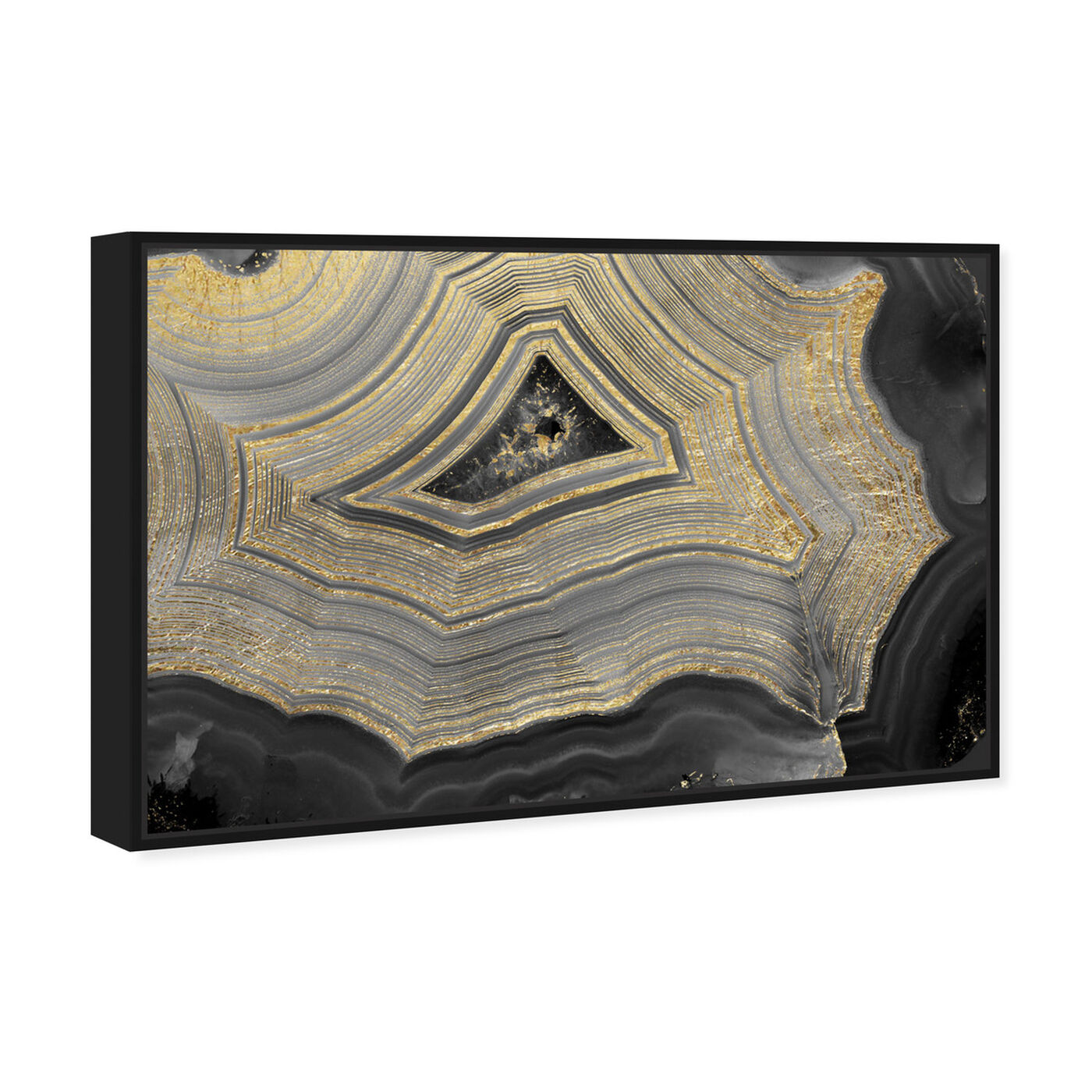 Angled view of Dubbio Geode featuring abstract and crystals art.