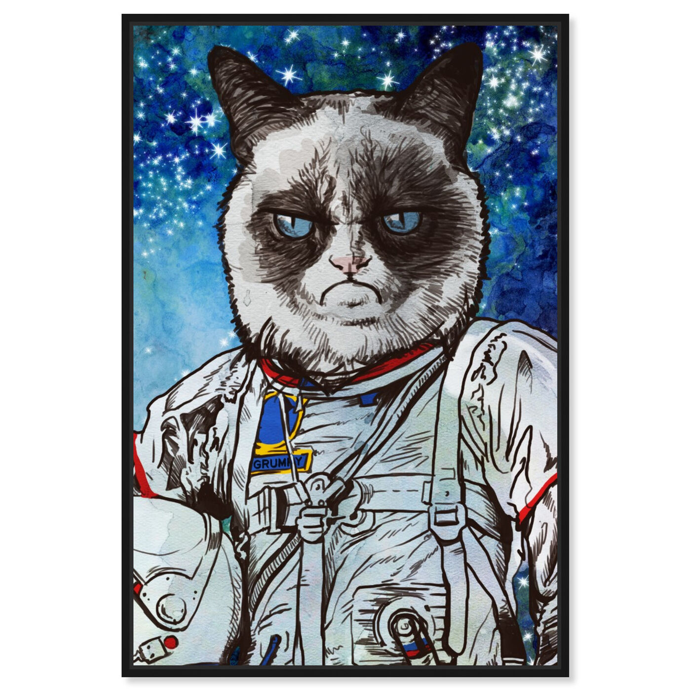 Front view of Captain Grumpy featuring animals and cats and kitties art.