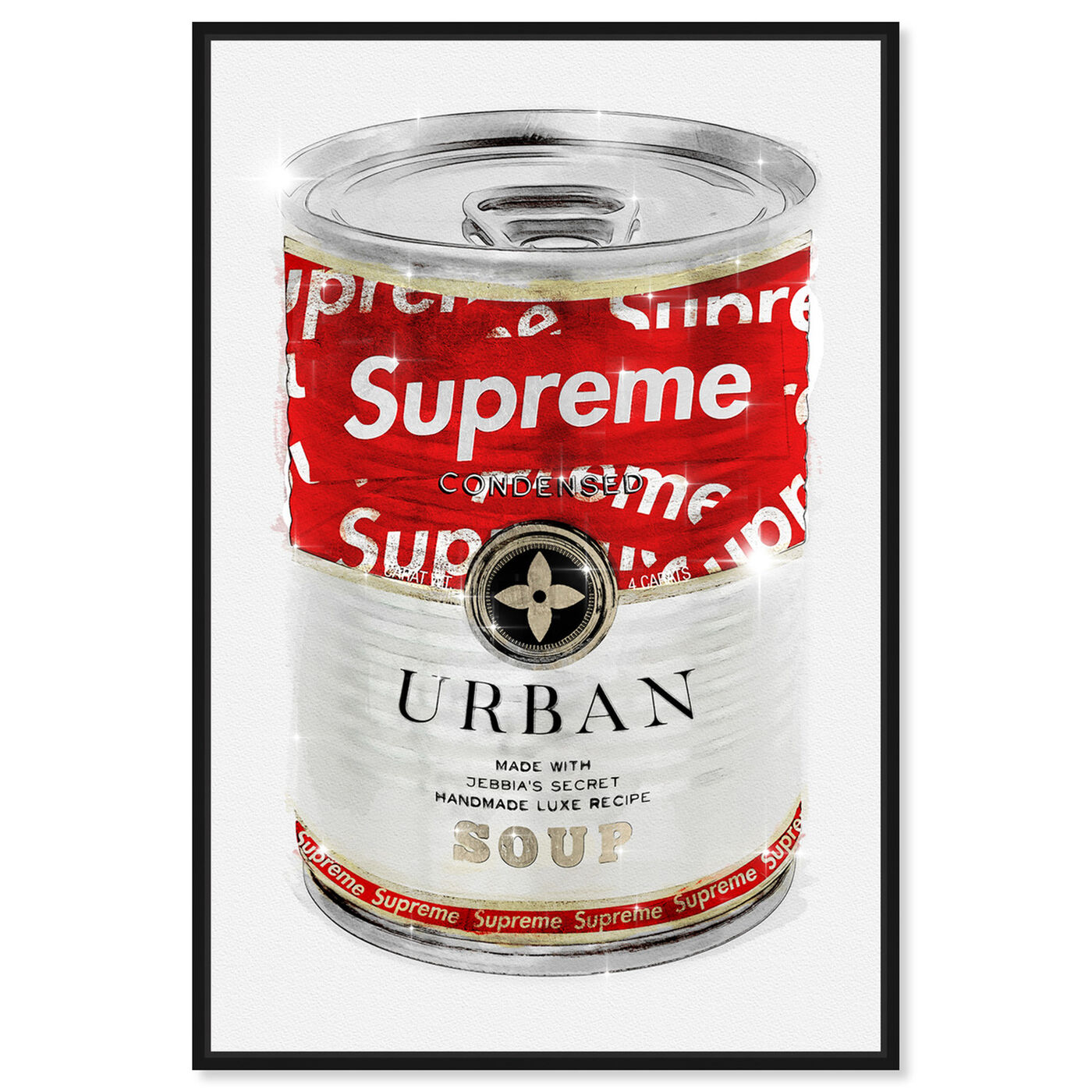 Front view of Urban Hype Soup Can featuring fashion and glam and soup can art.