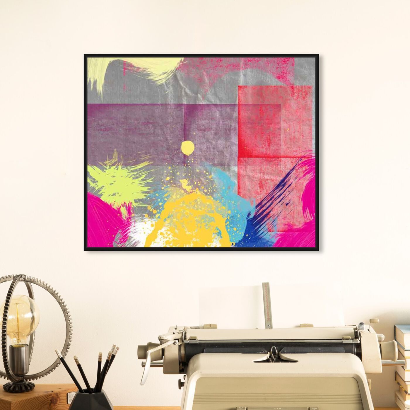 Hanging view of Sunset featuring abstract and paint art.