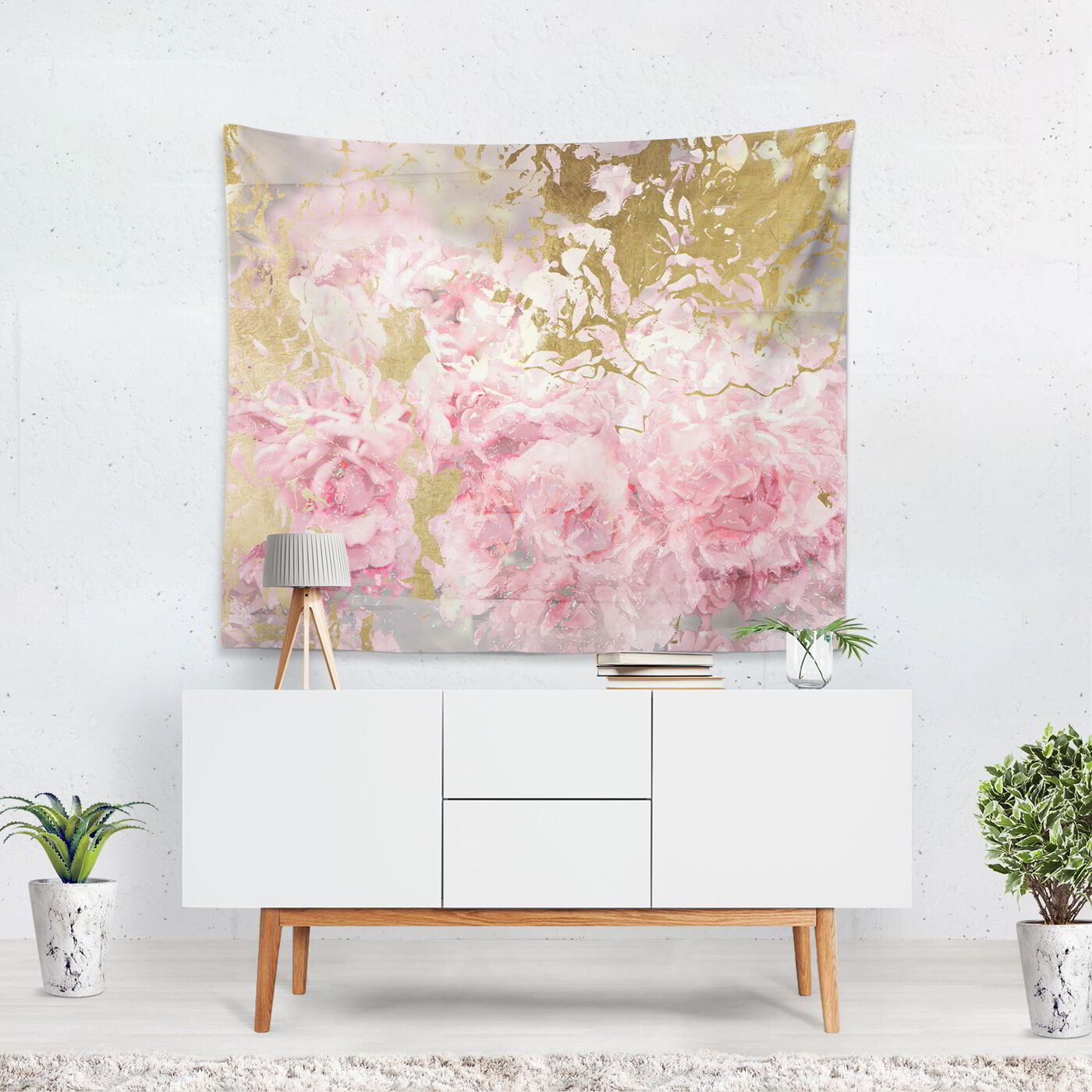 Pink and Gold Camellias Tapestry Art