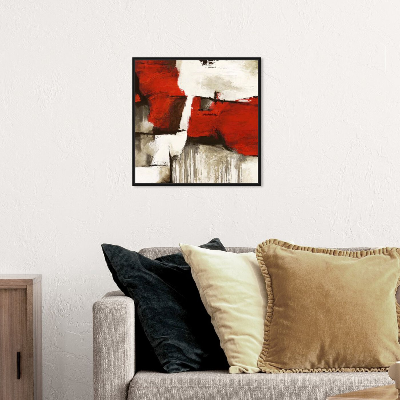 Hanging view of Sai - Rubrum II 1SN766 featuring abstract and paint art.