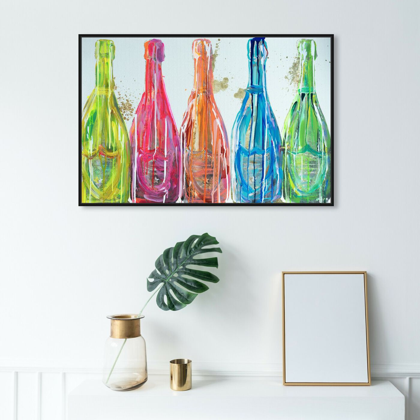 Hanging view of Domp Neon Pop featuring drinks and spirits and champagne art.