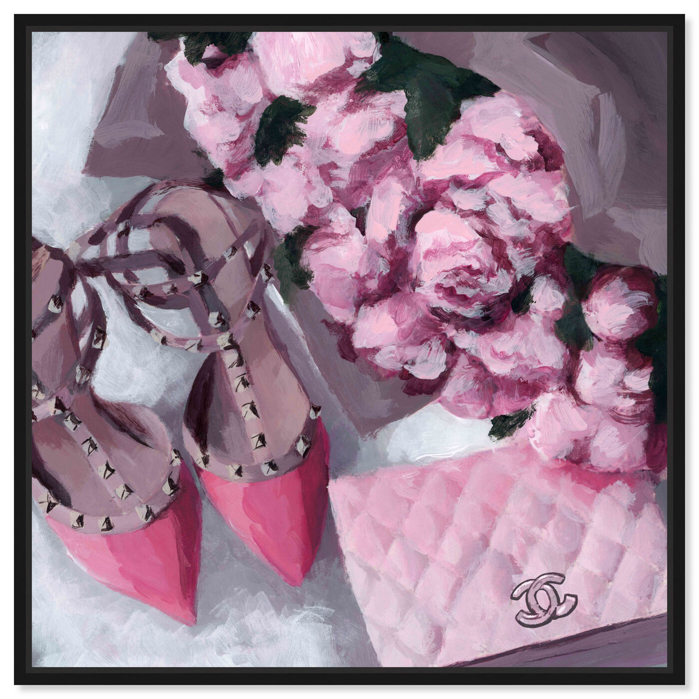 Front view of All Things Pink featuring fashion and glam and handbags art.