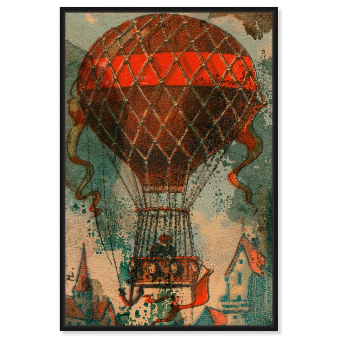 Front view of Ballon Godard 1865 featuring transportation and air transportation art.