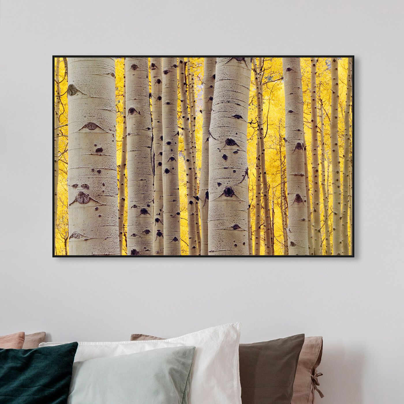 Hanging view of Aspen Yellow featuring floral and botanical and trees art.