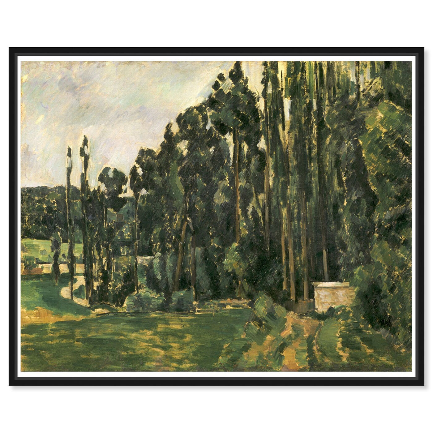 Front view of Paul Cezanne - Poplars featuring nature and landscape and forest landscapes art.