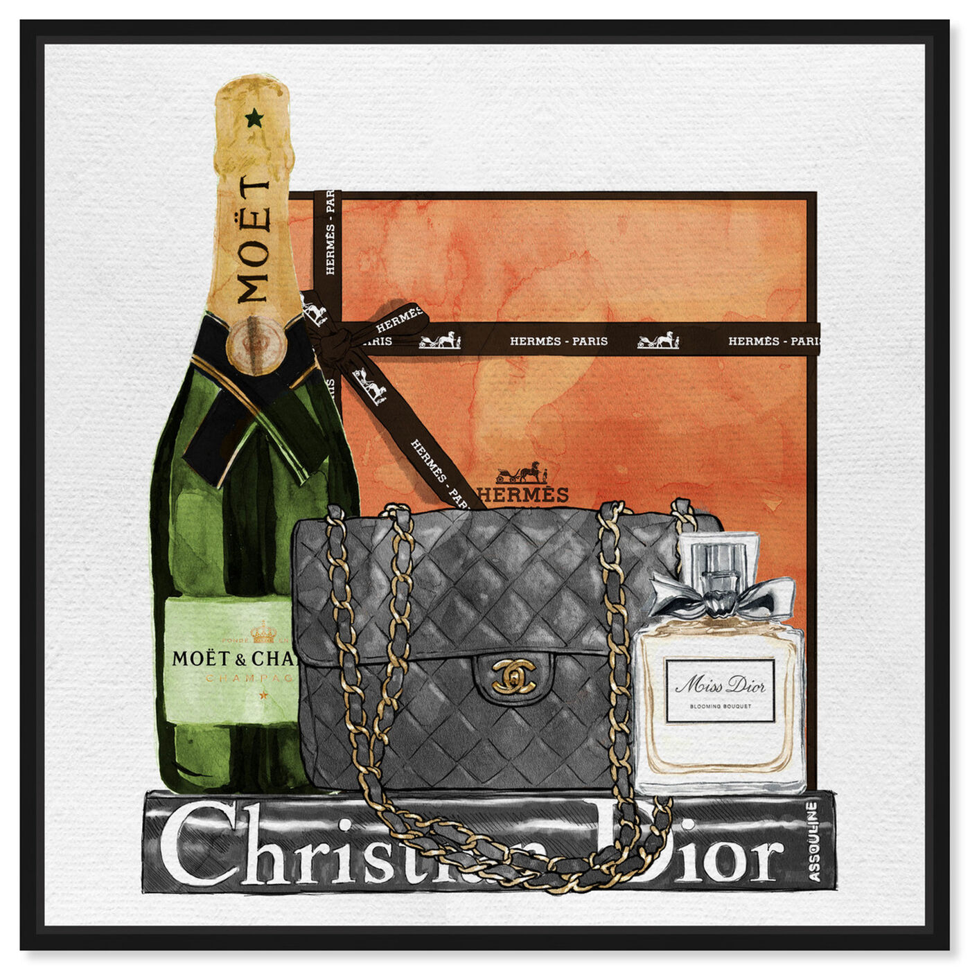 Front view of Delicate Perfume and Books featuring fashion and glam and handbags art.