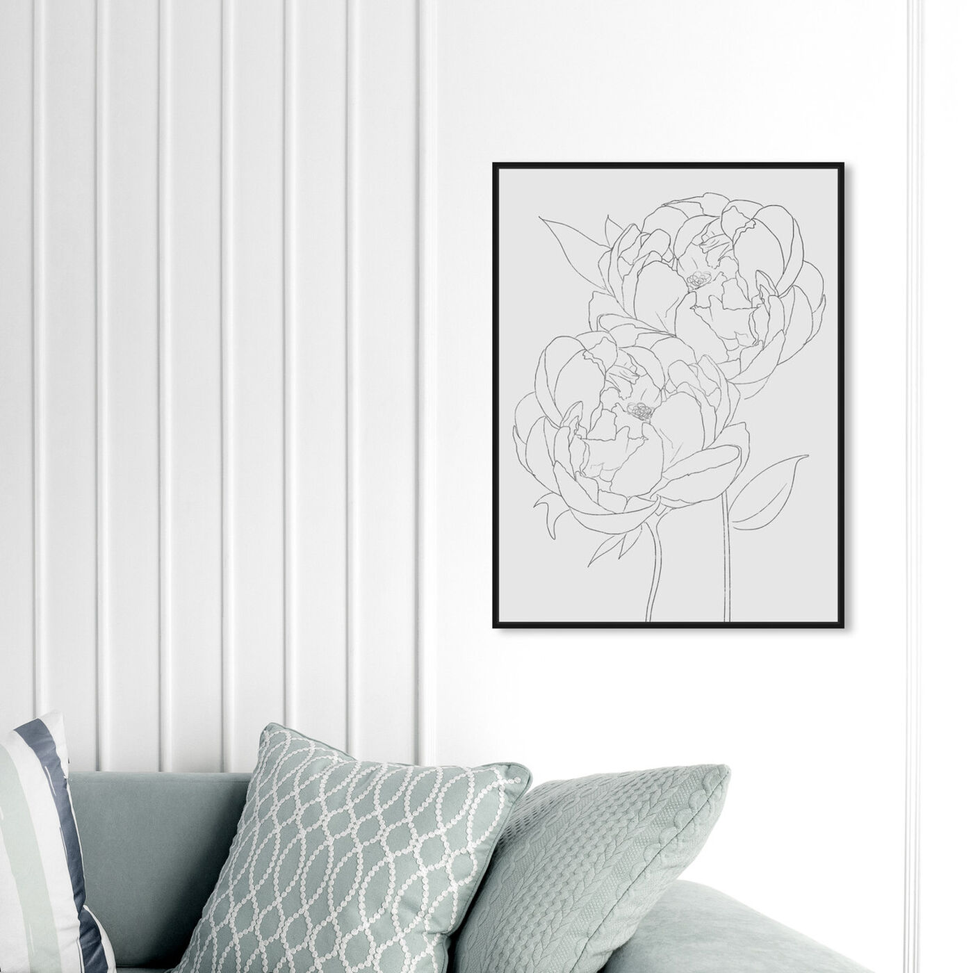 Hanging view of Peonies featuring floral and botanical and florals art.