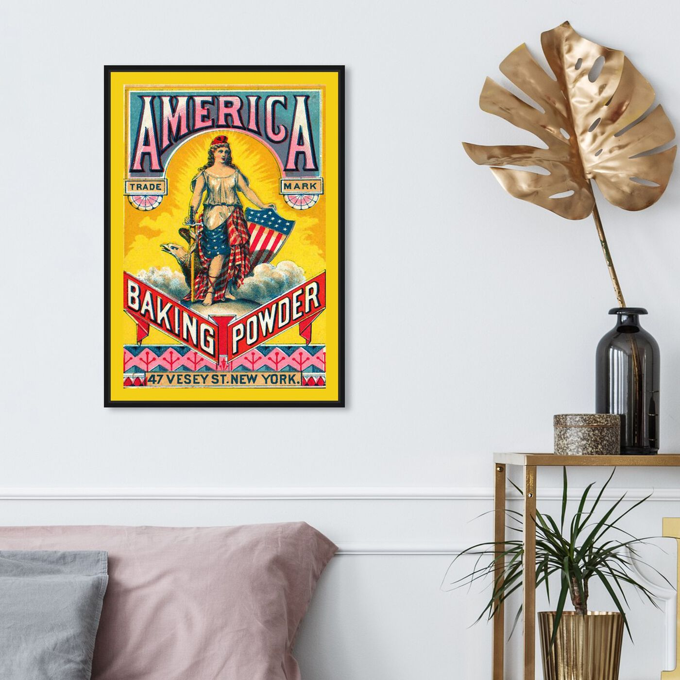 Hanging view of America Baking Powder featuring advertising and promotional brands art.