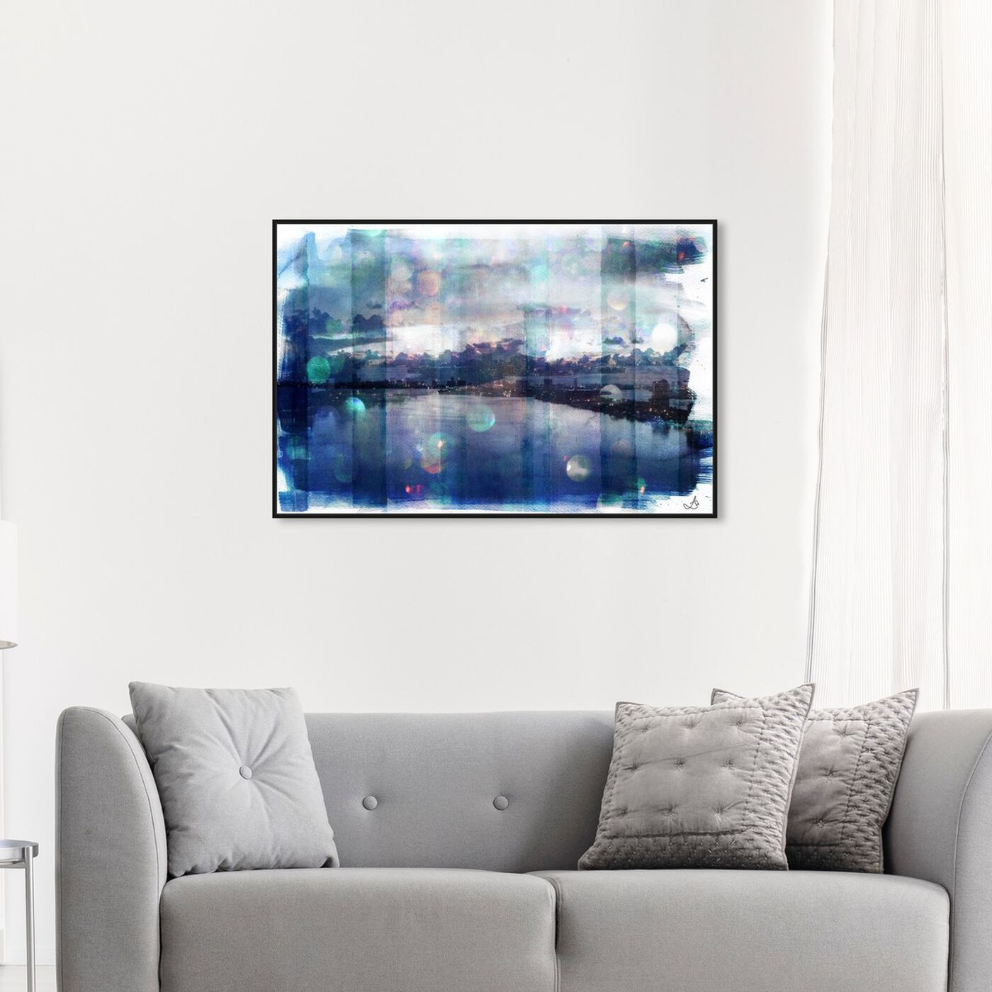 Hanging view of Miami Morning featuring cities and skylines and united states cities art.