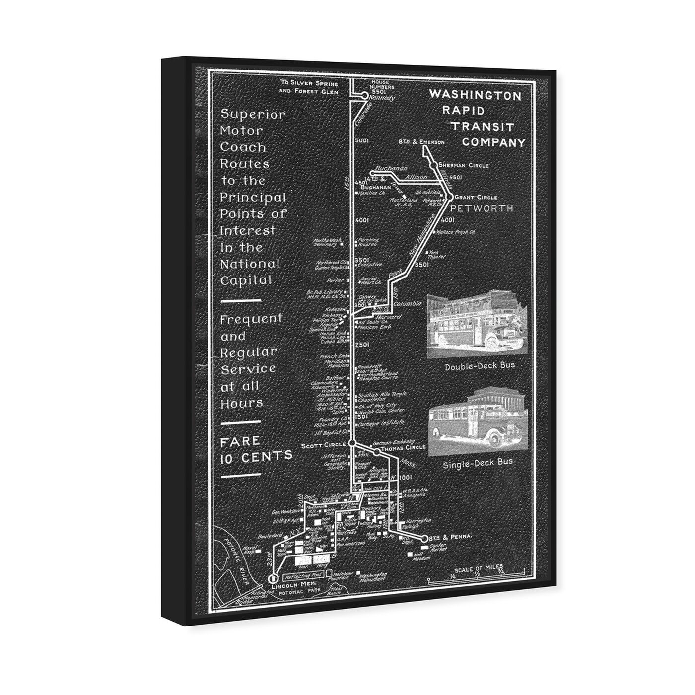 Angled view of Washington Rapid Transit Co. Map 1927 featuring maps and flags and transit map art.