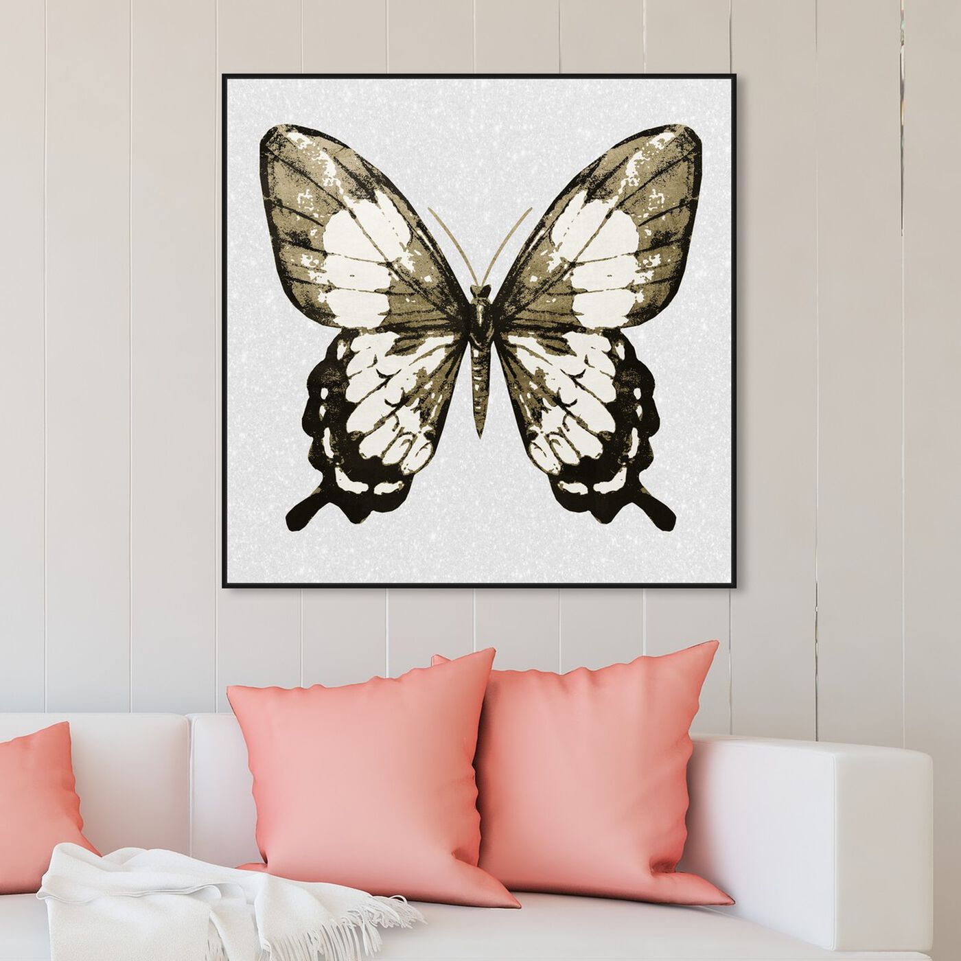 Hanging view of Butterfly Gold and Black featuring animals and insects art.