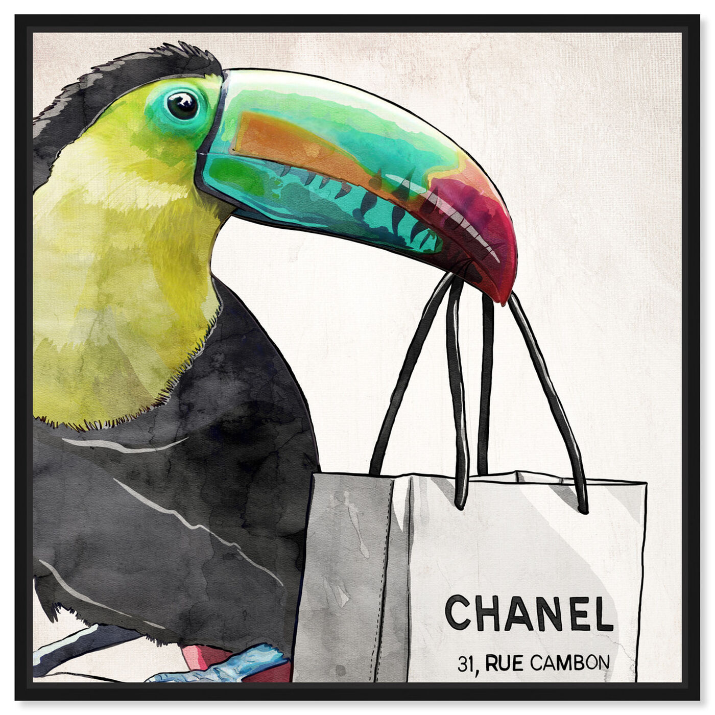 Front view of French Toucan Artwork featuring fashion and glam and fashion art.