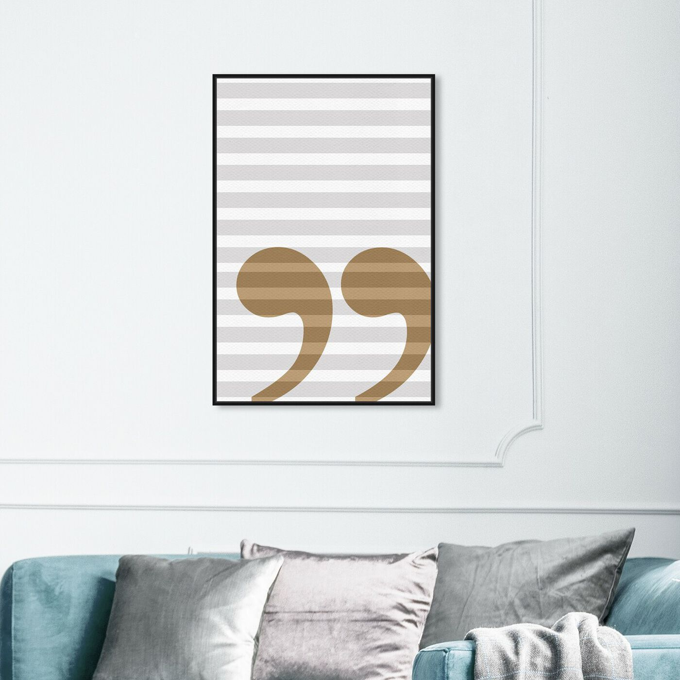 Hanging view of Grammar 104 featuring typography and quotes and letters and calligraphy art.