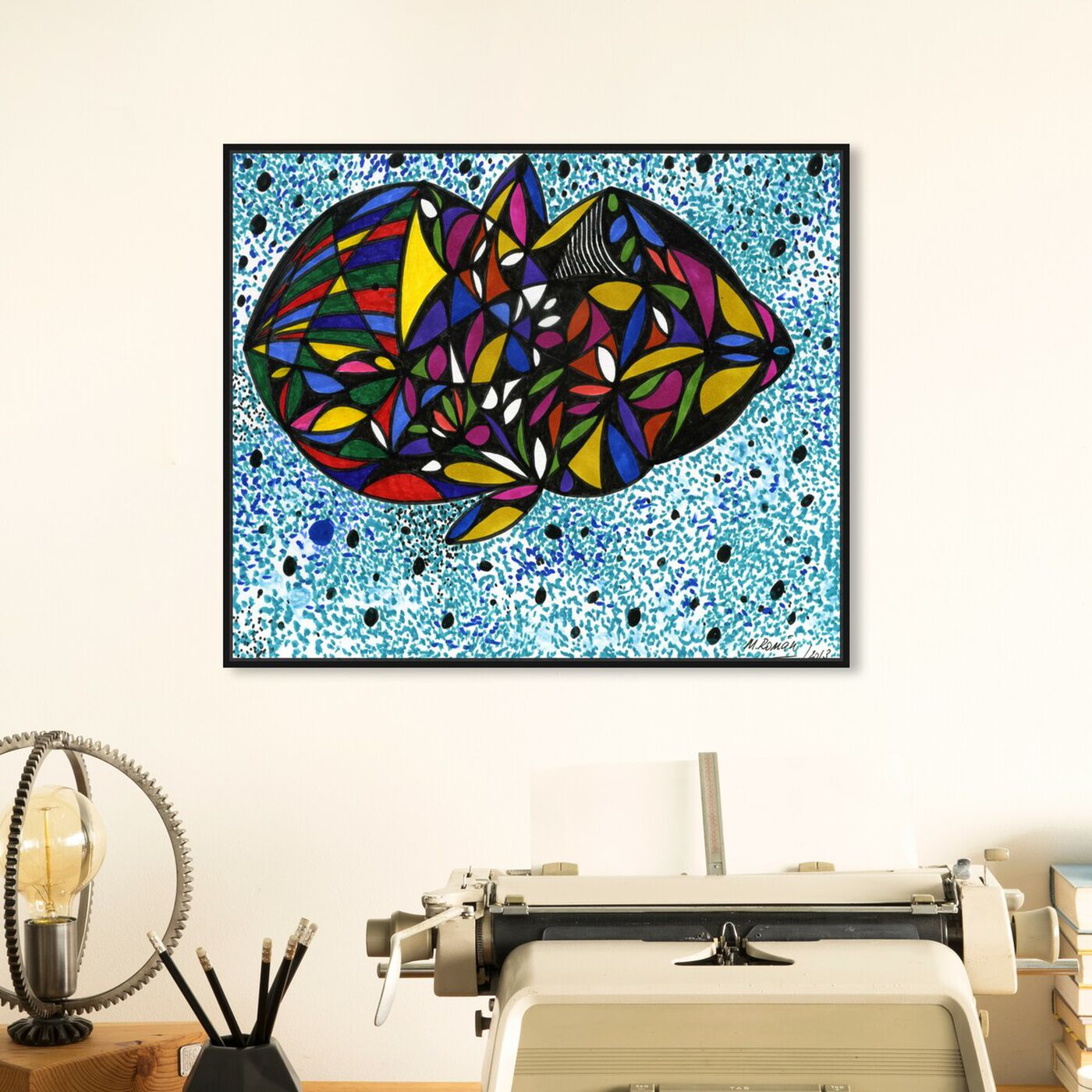 Hanging view of Cuttlefish featuring abstract and geometric art.
