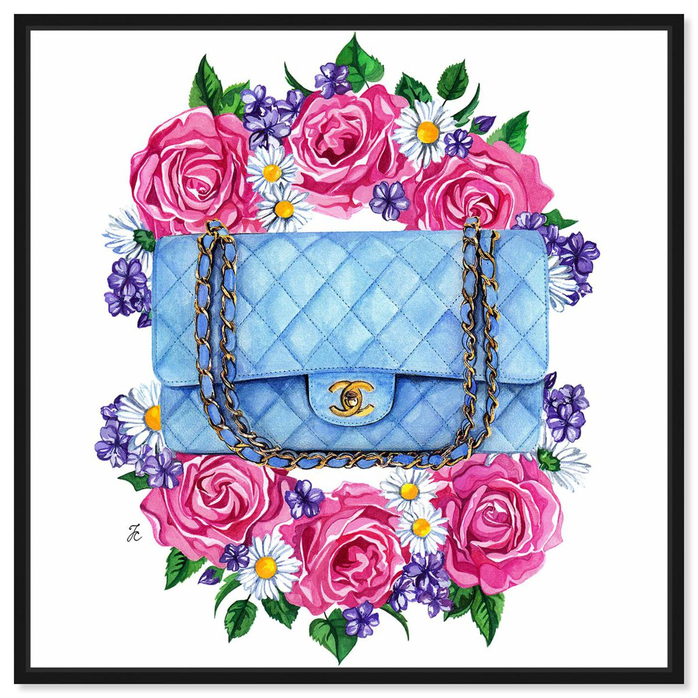 Front view of Doll Memories - Pastel Blue Bag featuring fashion and glam and handbags art.