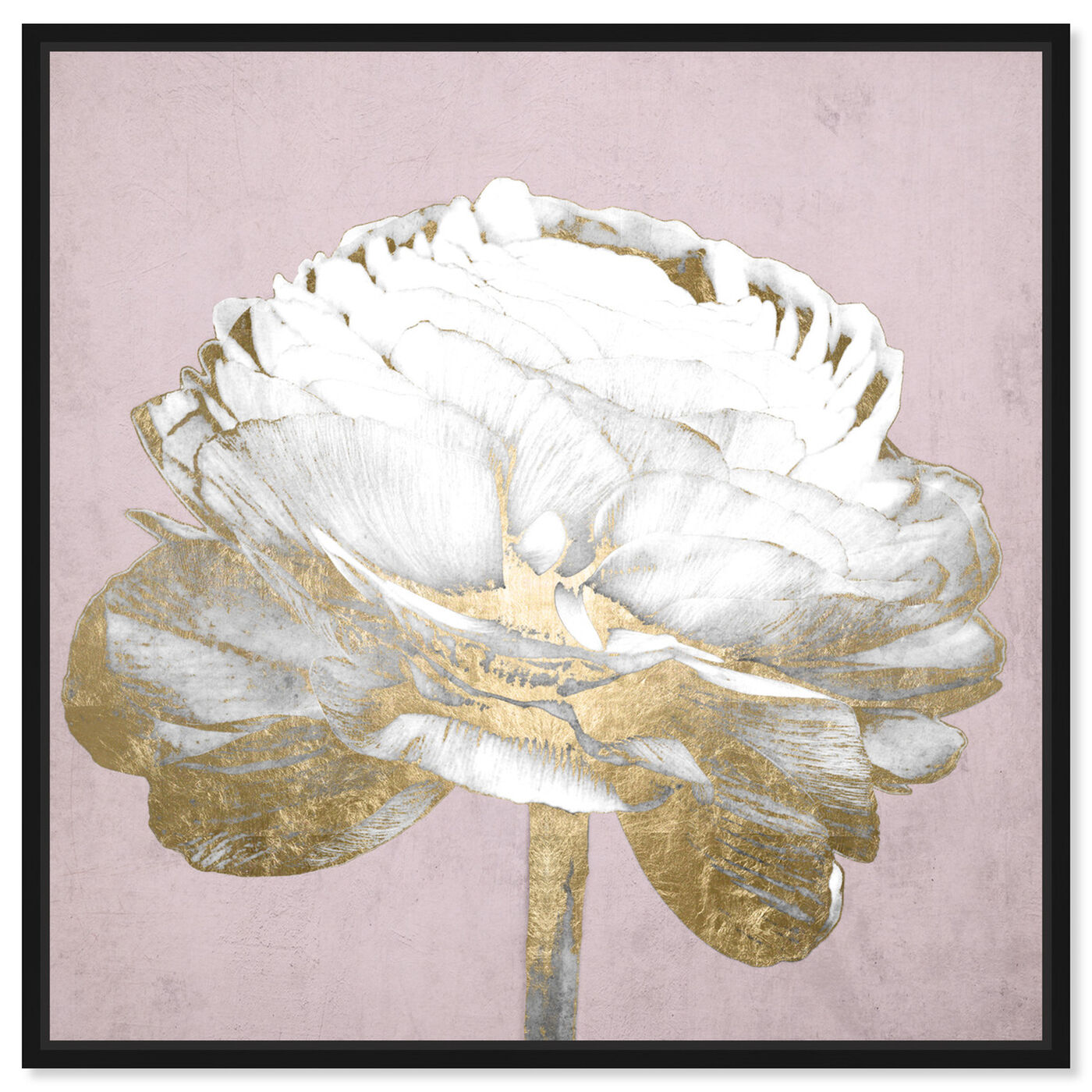 Front view of Blush Gold Luxe Flower featuring floral and botanical and florals art.