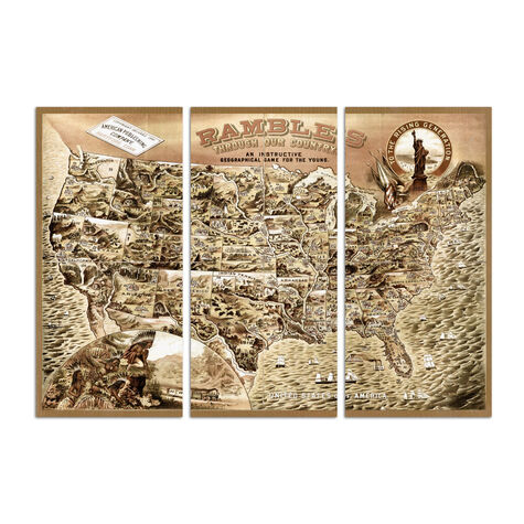 Rambles Through Our Country 1886 Map Triptych