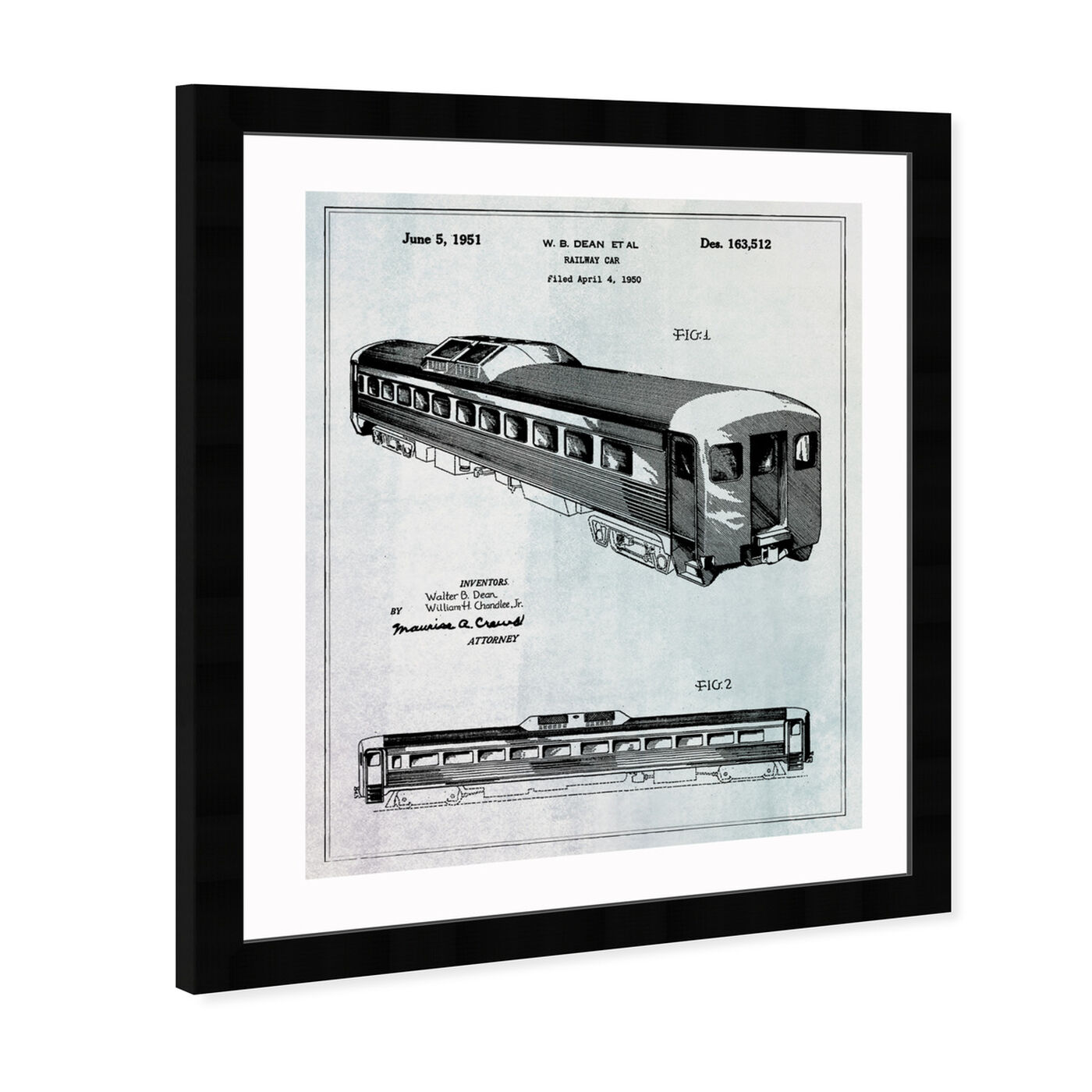 Angled view of Railway Car 1951 featuring transportation and trains art.