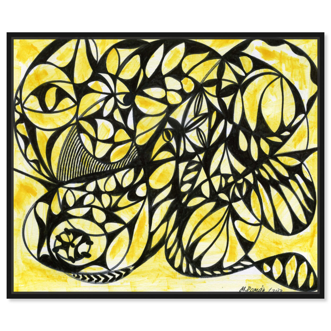 Front view of Honeycombs featuring abstract and shapes art.