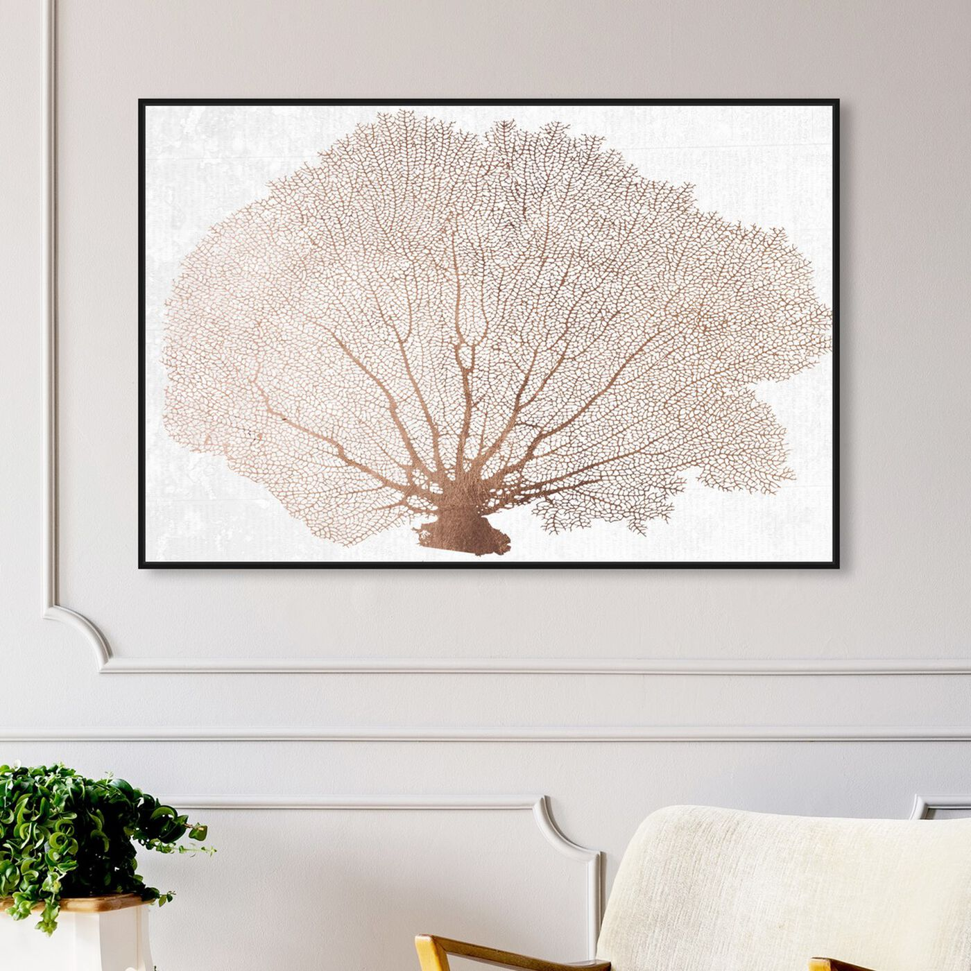 Hanging view of Copper Coral Fan featuring nautical and coastal and marine life art.