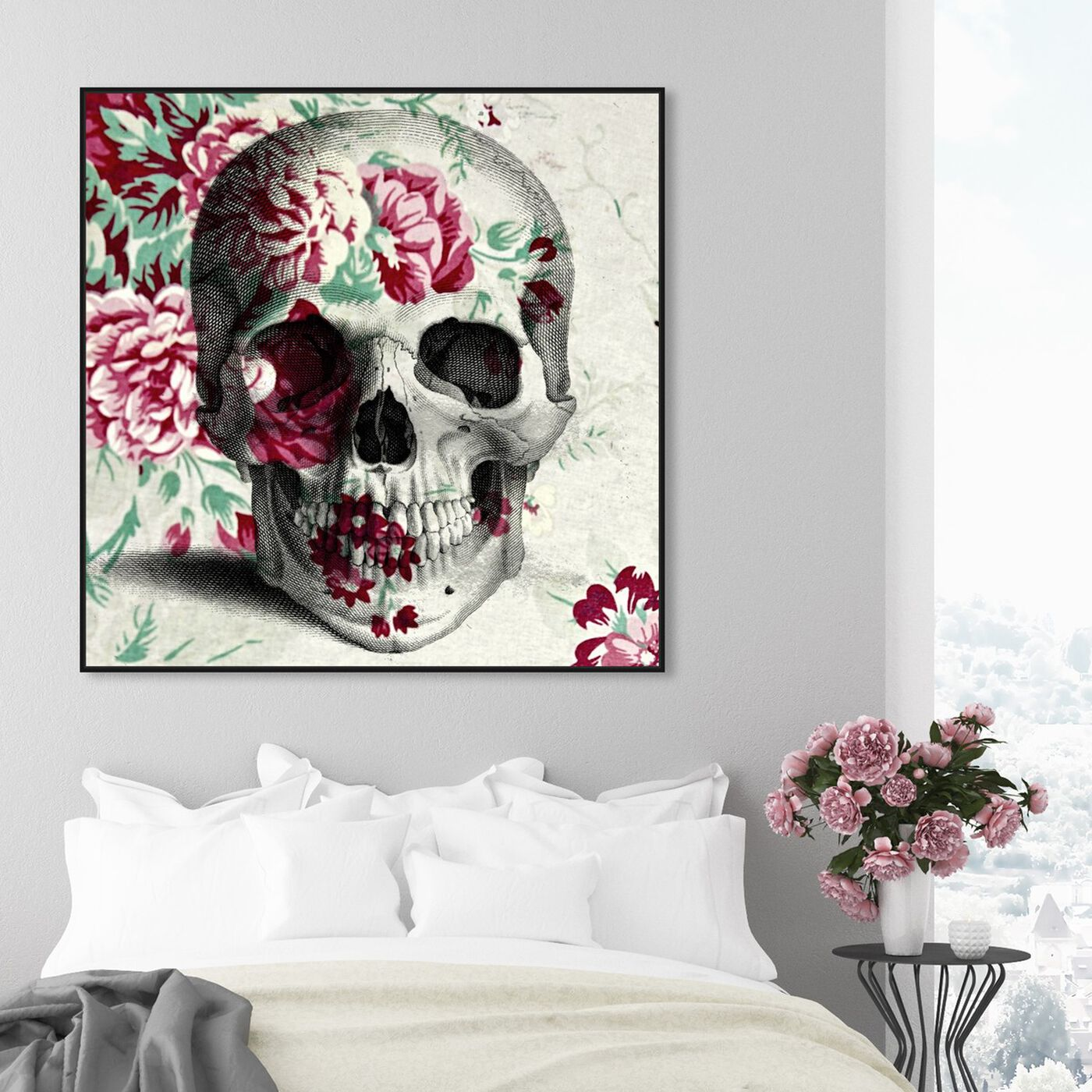 Hanging view of Spring Skull featuring symbols and objects and skull art.