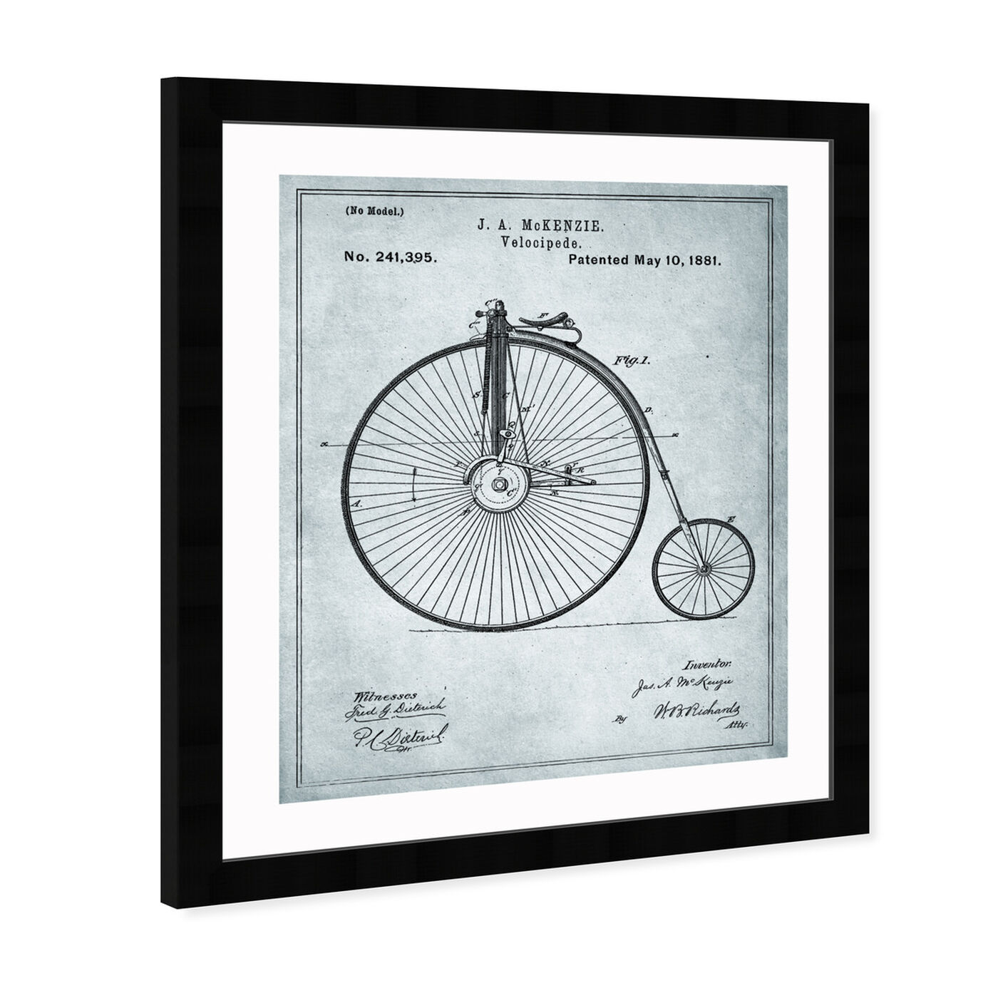 Angled view of McKenzie Velocipede, 1881 - Gray featuring transportation and bicycles art.
