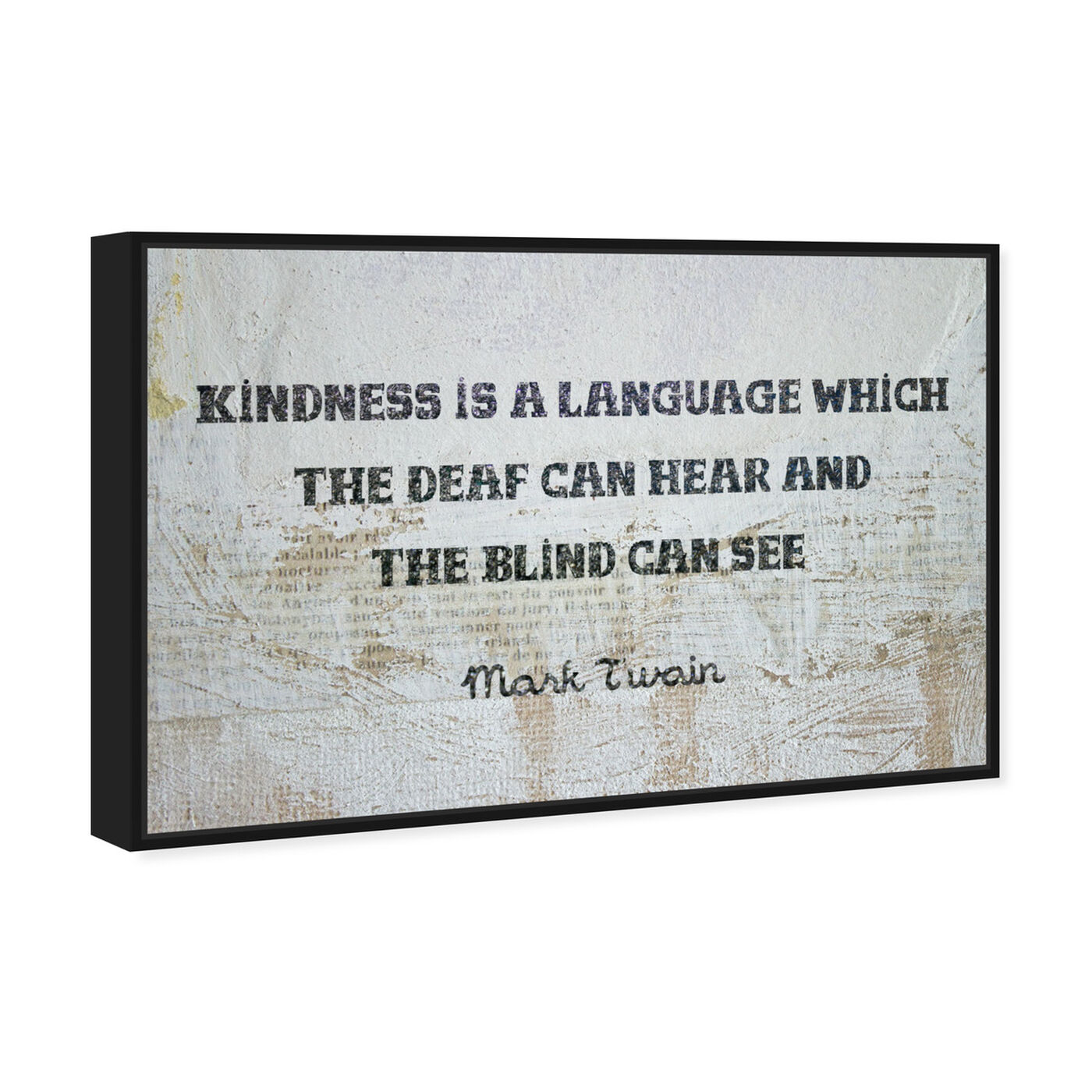 Angled view of Kindness is a Language featuring typography and quotes and inspirational quotes and sayings art.