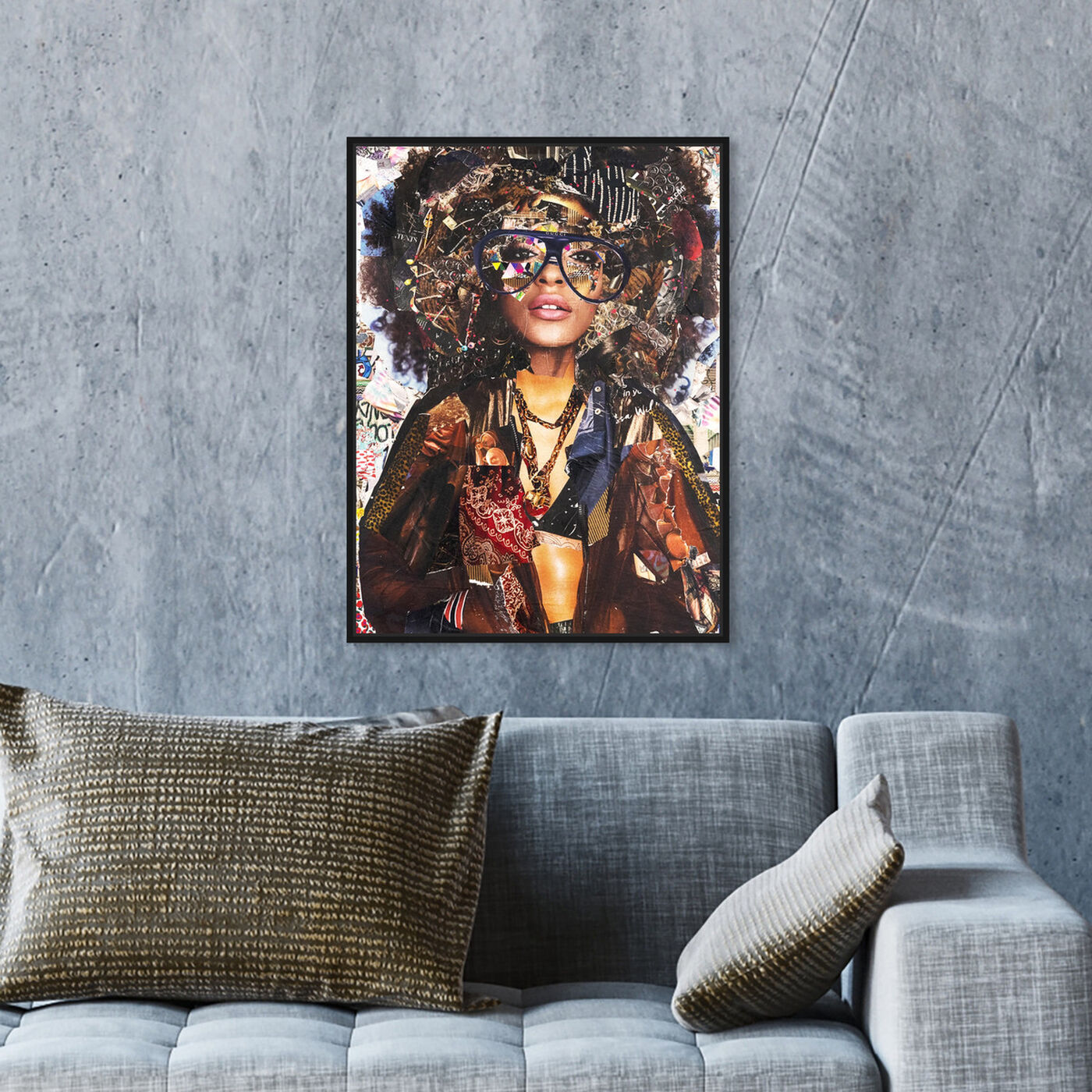 Hanging view of Katy Hirschfeld - Glam Fro featuring fashion and glam and portraits art.