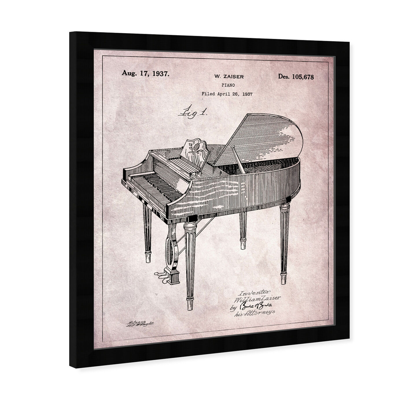 Angled view of Piano 1937 featuring music and dance and music instruments art.
