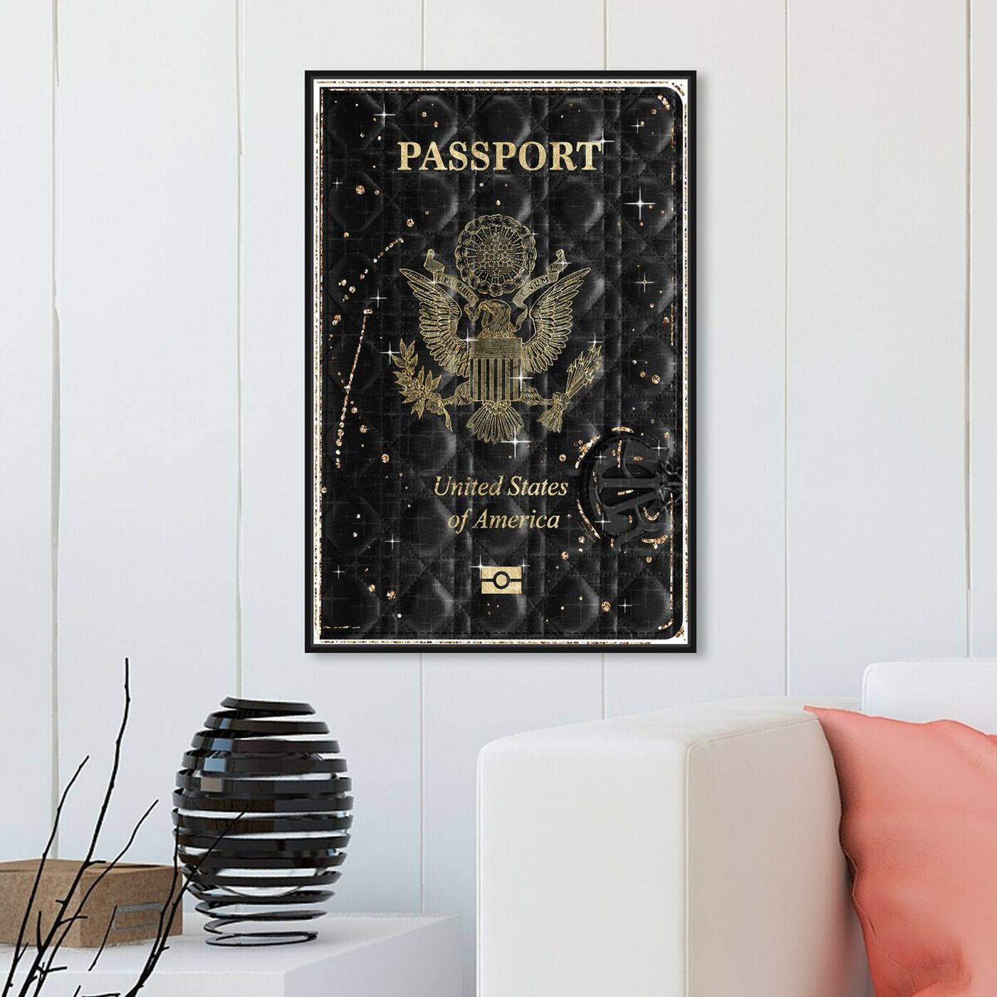 Hanging view of Lux Passport featuring fashion and glam and travel essentials art.