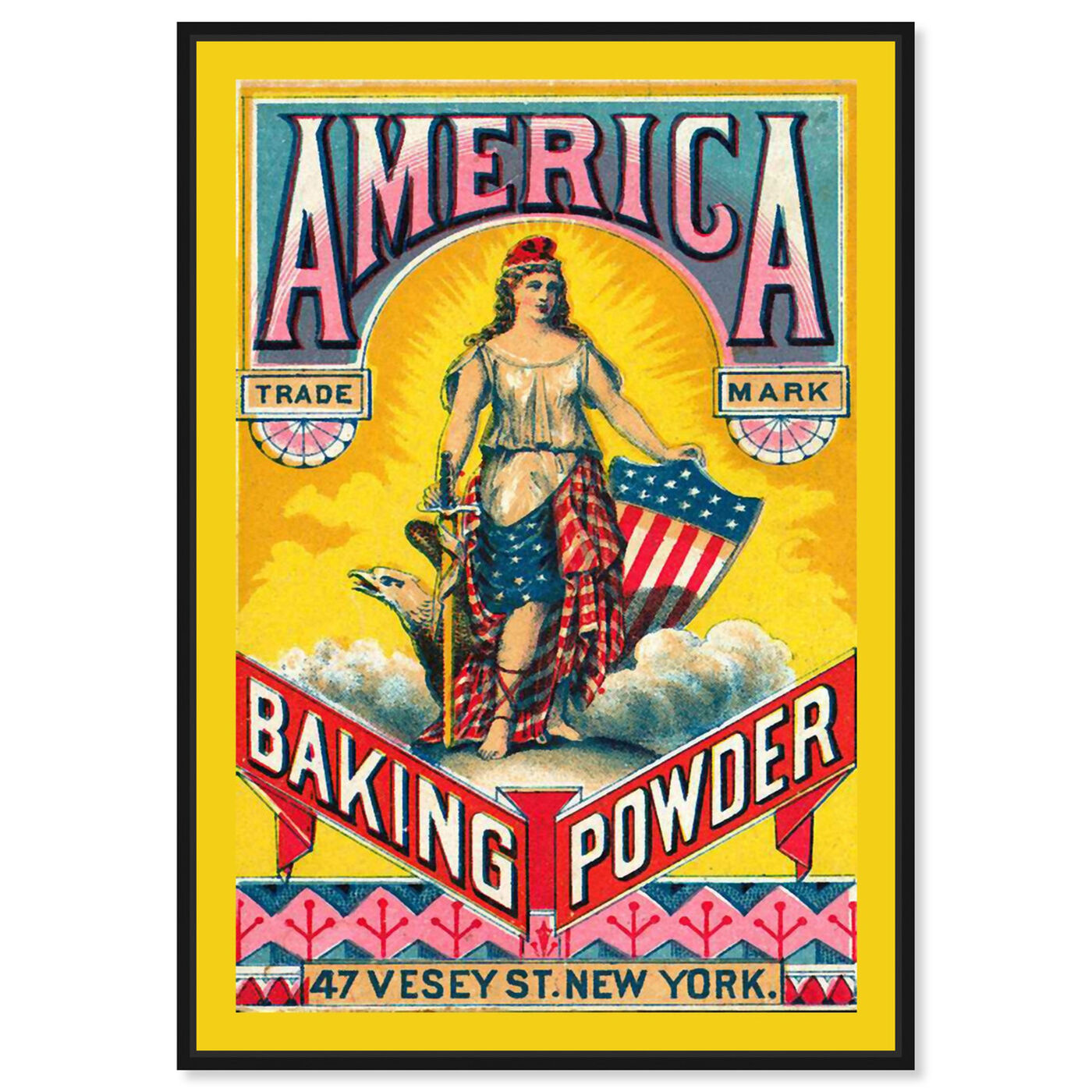 Front view of America Baking Powder featuring advertising and promotional brands art.