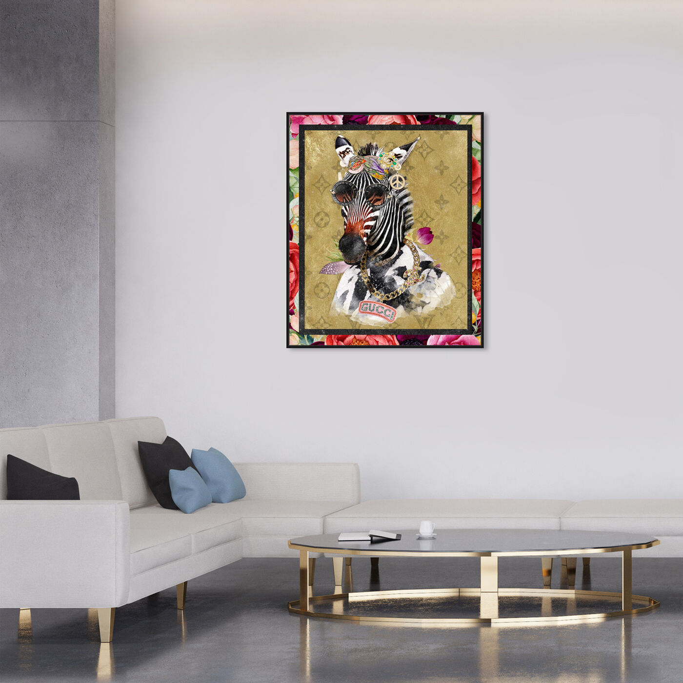 Hanging view of Luxe Aunt Portrait featuring animals and zoo and wild animals art.