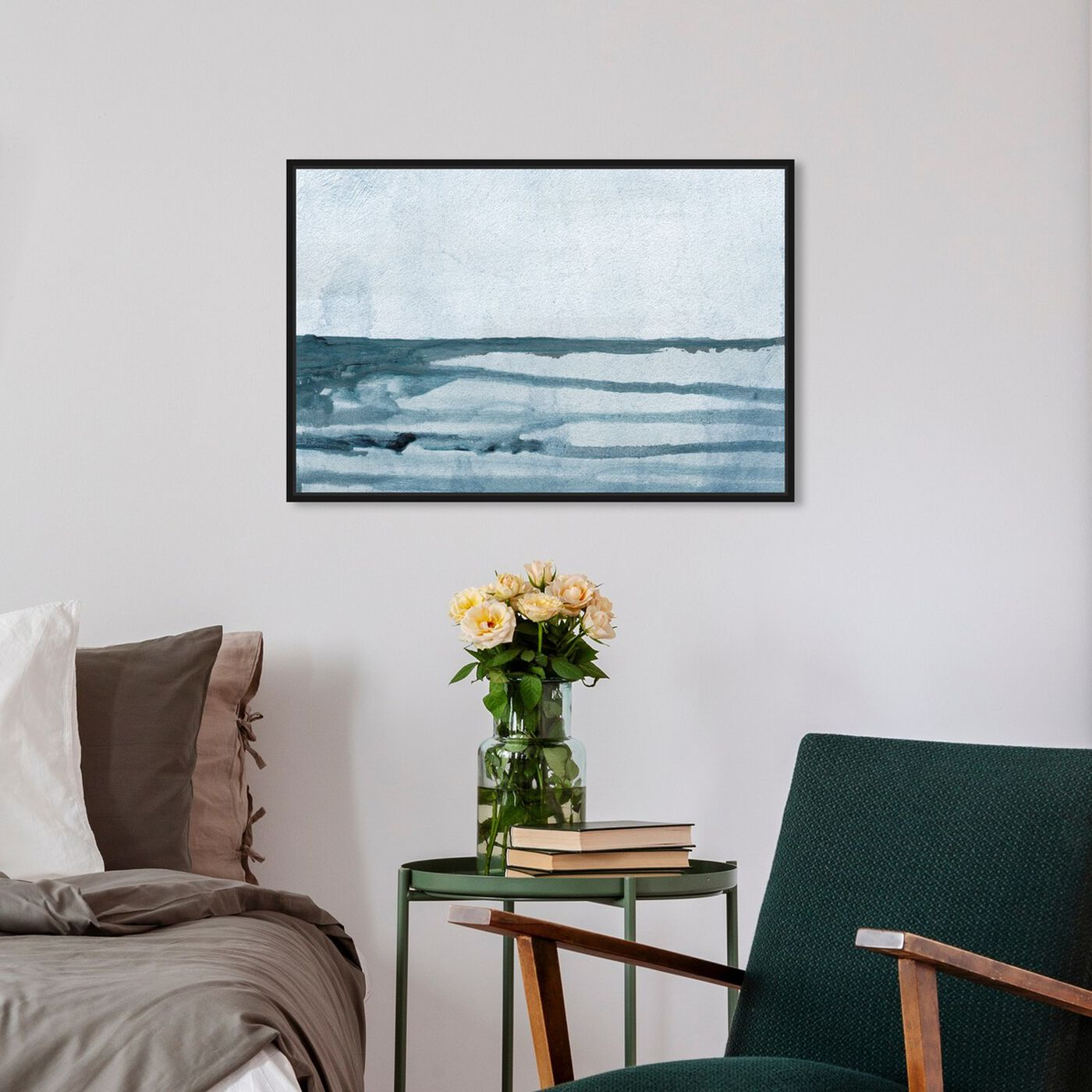 Hanging view of Washed Waves featuring abstract and paint art.