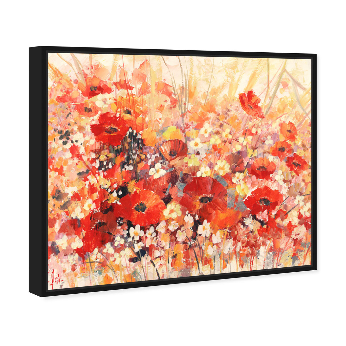 Angled view of Sai - Red Floral 3LR1777 featuring floral and botanical and gardens art.