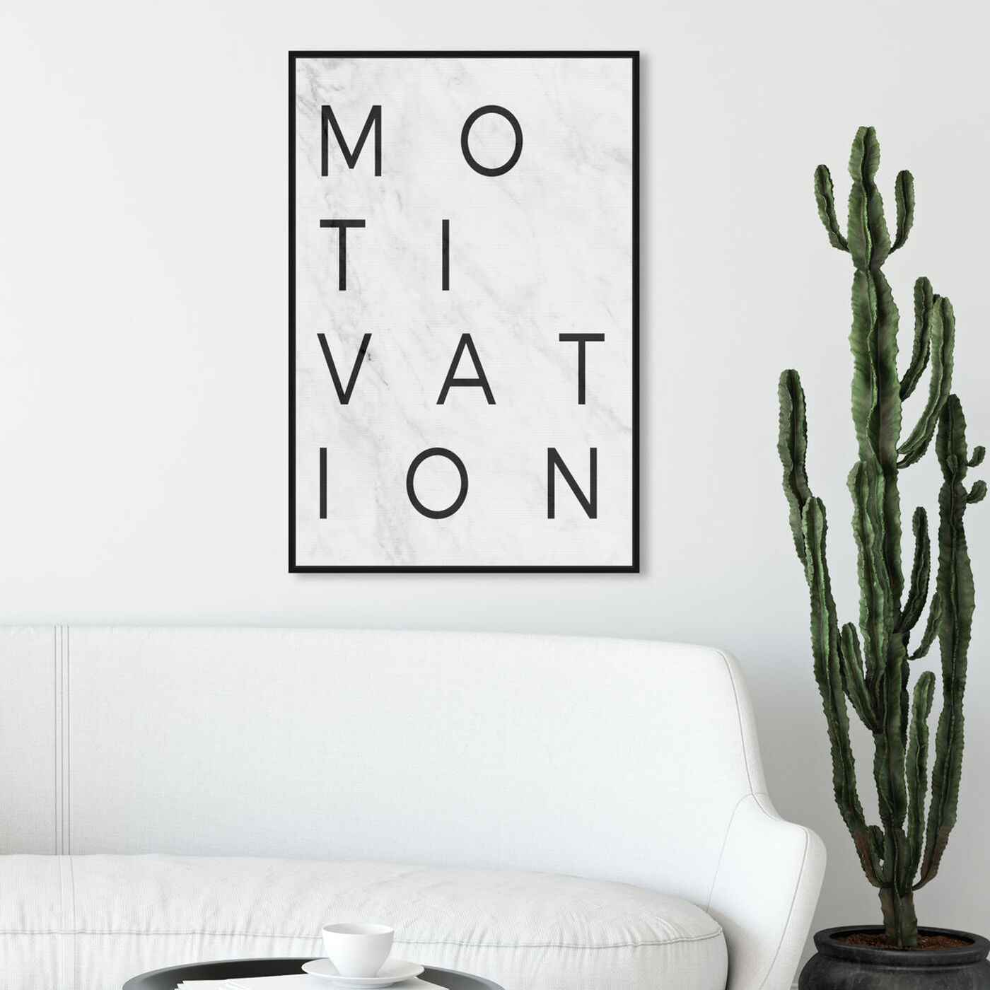 Hanging view of Motivation Minimalist Marble Paper featuring typography and quotes and motivational quotes and sayings art.