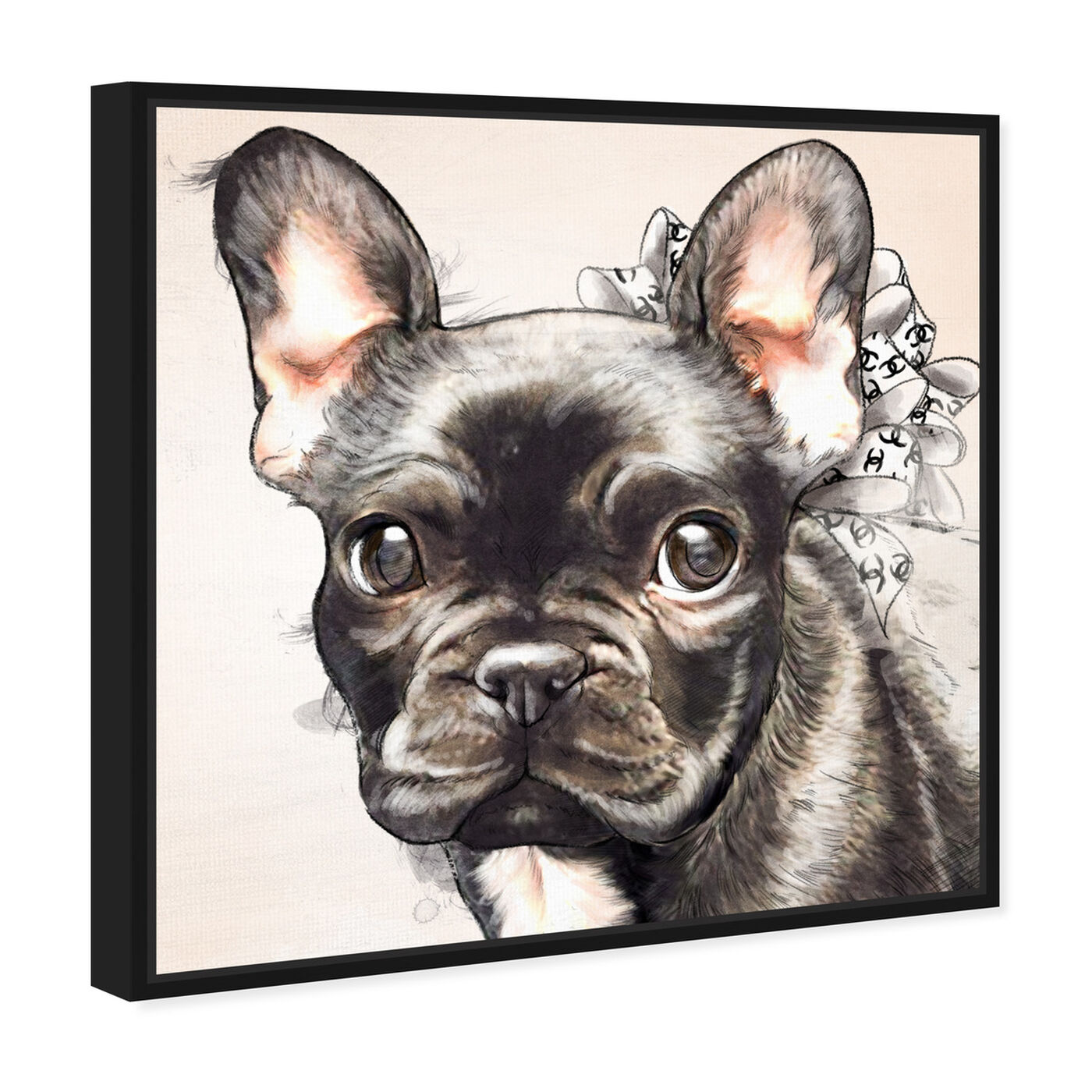 Angled view of Frenchie Bow Watercolor Black featuring animals and dogs and puppies art.