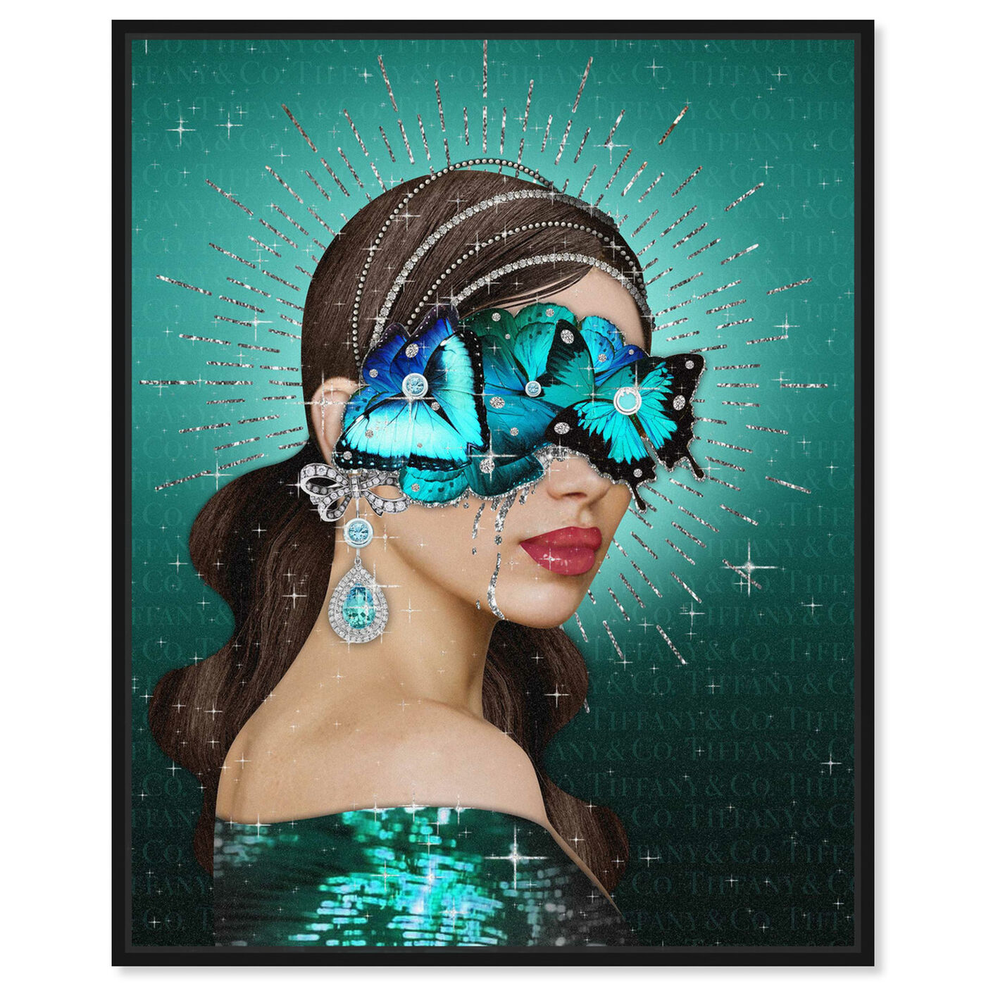 Front view of Turquoise Queen featuring fashion and glam and portraits art.