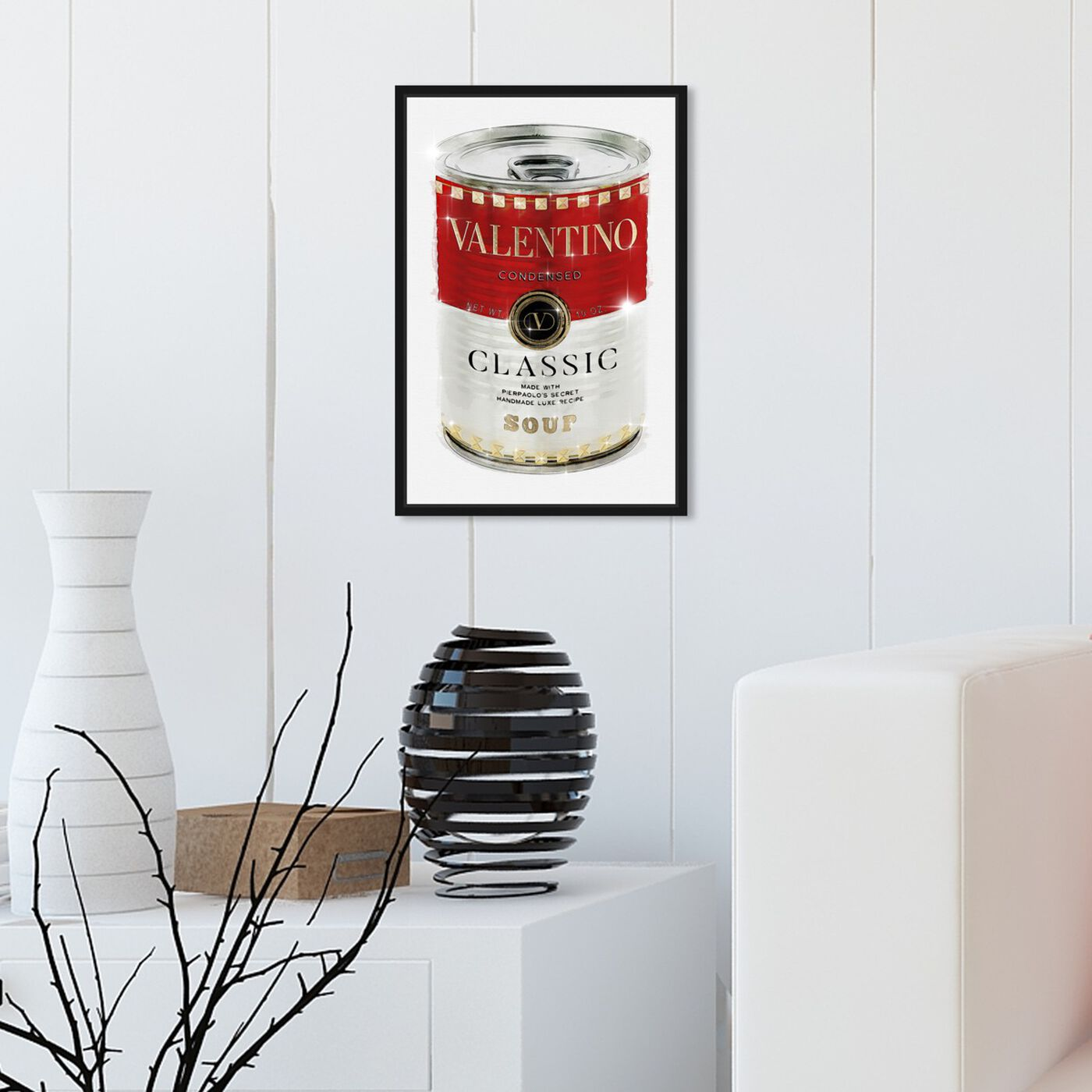 Hanging view of Rockstud Soup featuring fashion and glam and soup can art.