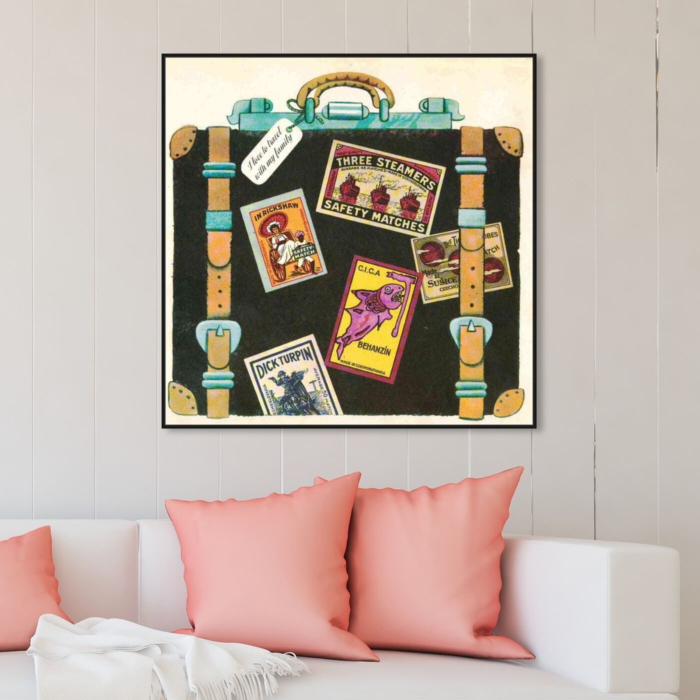 Hanging view of I Love to Travel featuring fashion and glam and travel essentials art.