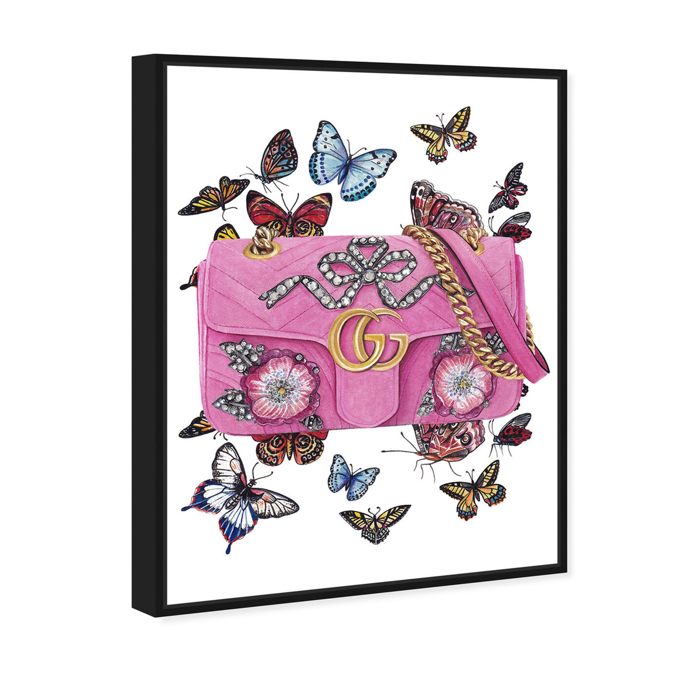 Angled view of Doll Memories - Butterflies featuring fashion and glam and handbags art.