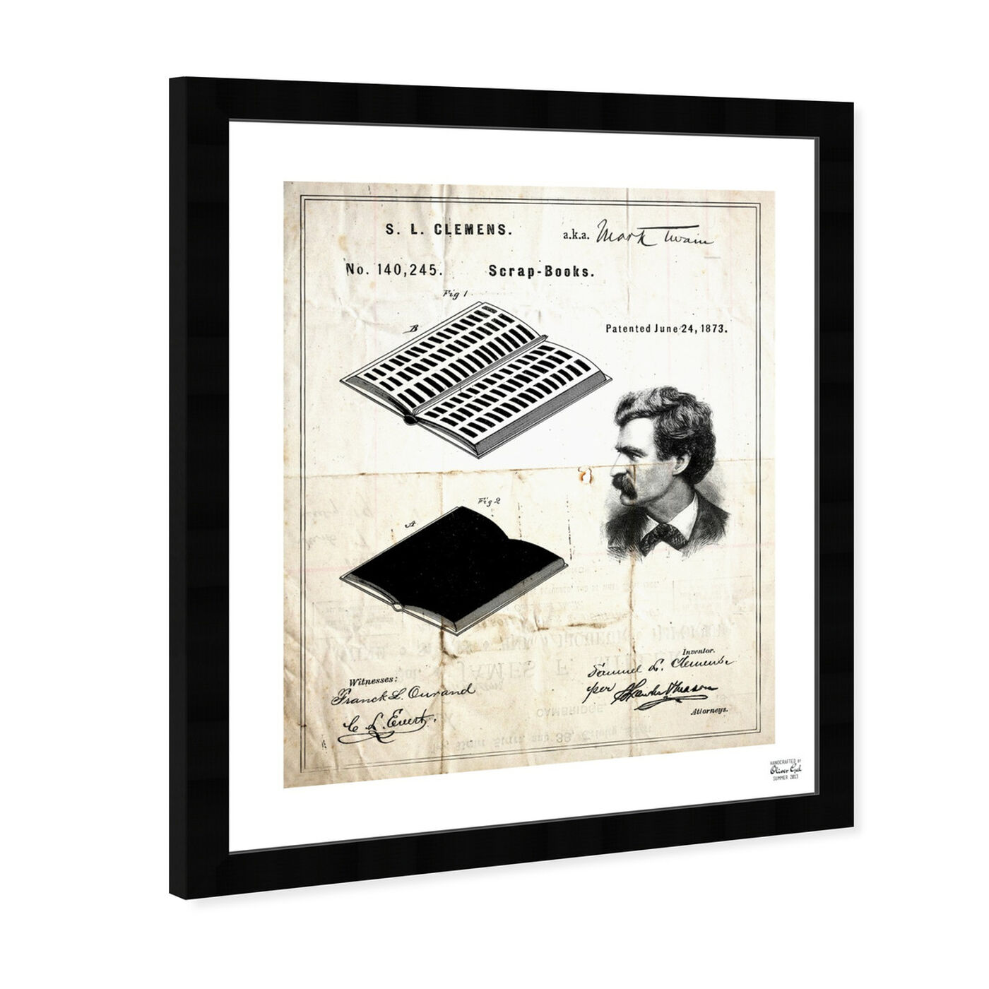 Angled view of Mark Twain's Scrapbook 1873 featuring education and office and scientist art.