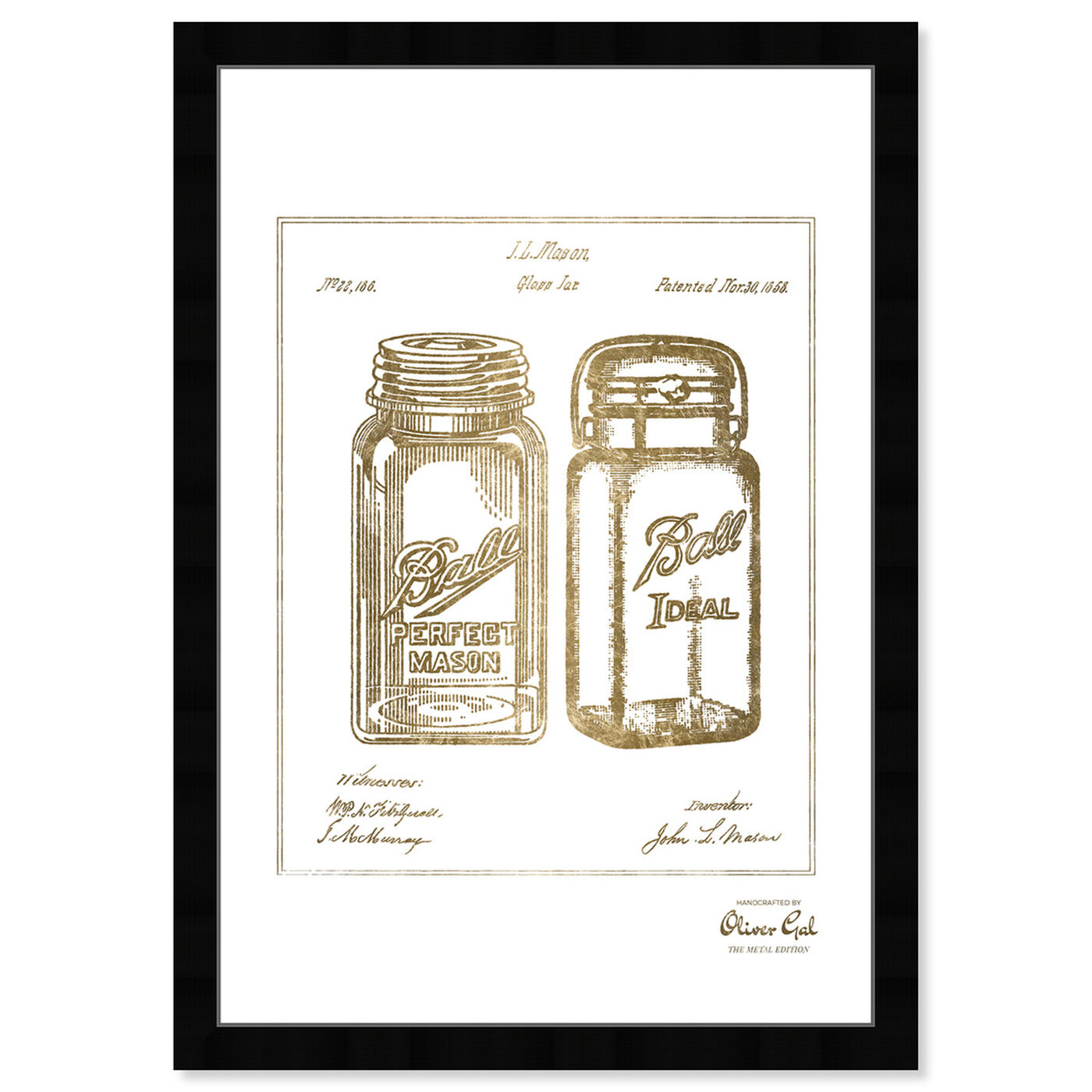 Front view of Mason Jar - Adapted 1853 - Noir Gold featuring food and cuisine and kitchen art.