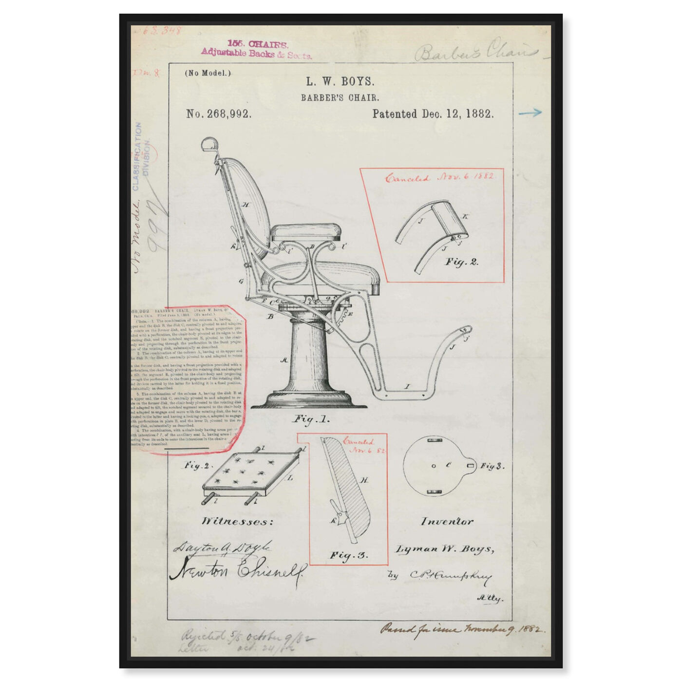 Front view of Barber Chair Patent 1882 featuring bath and laundry and barber art.