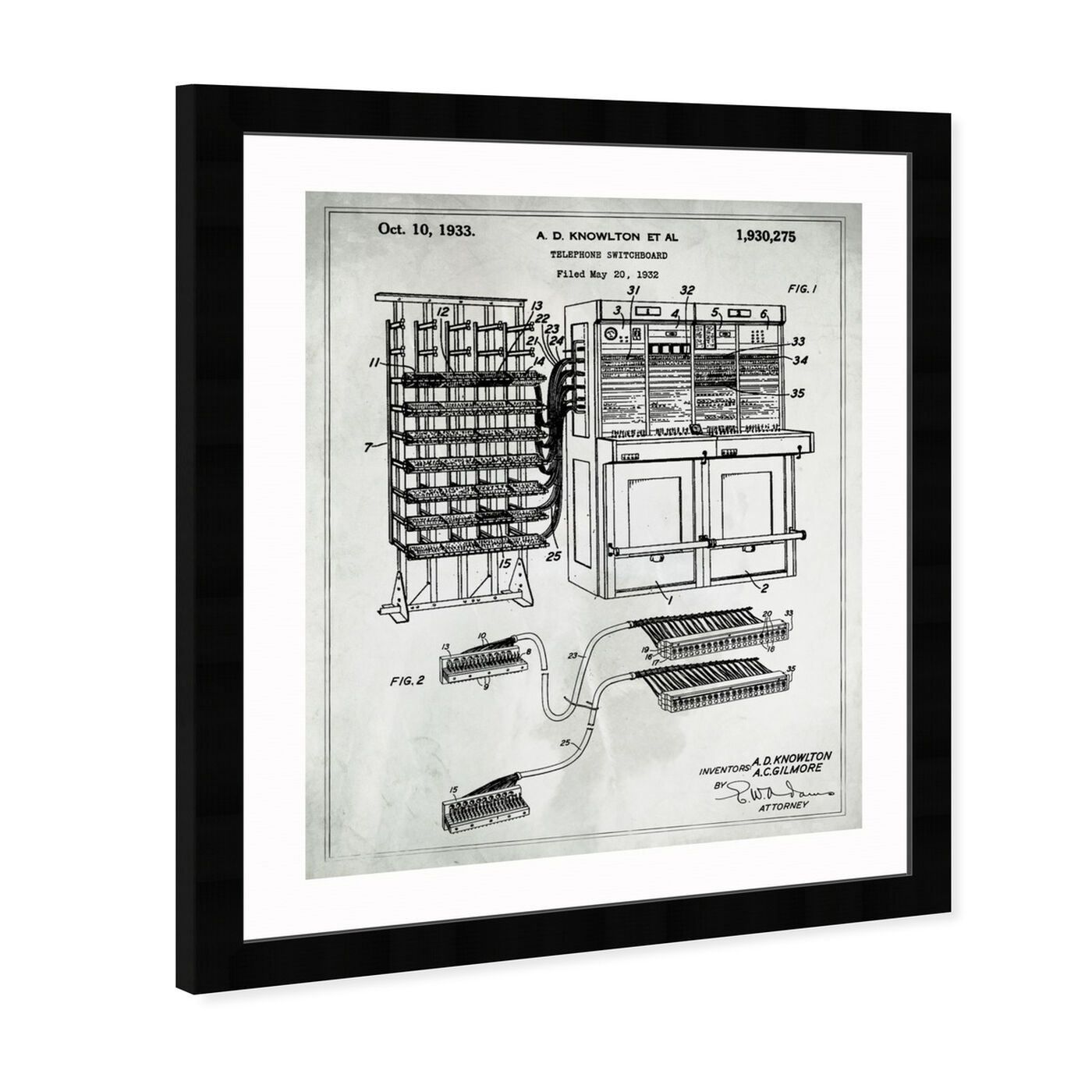 Angled view of Telephone Switchboard 1933 featuring symbols and objects and scientist art.