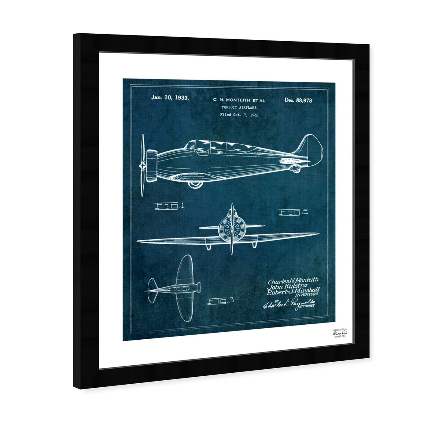 Angled view of Pursuit Airplane 1933 featuring transportation and airplanes art.