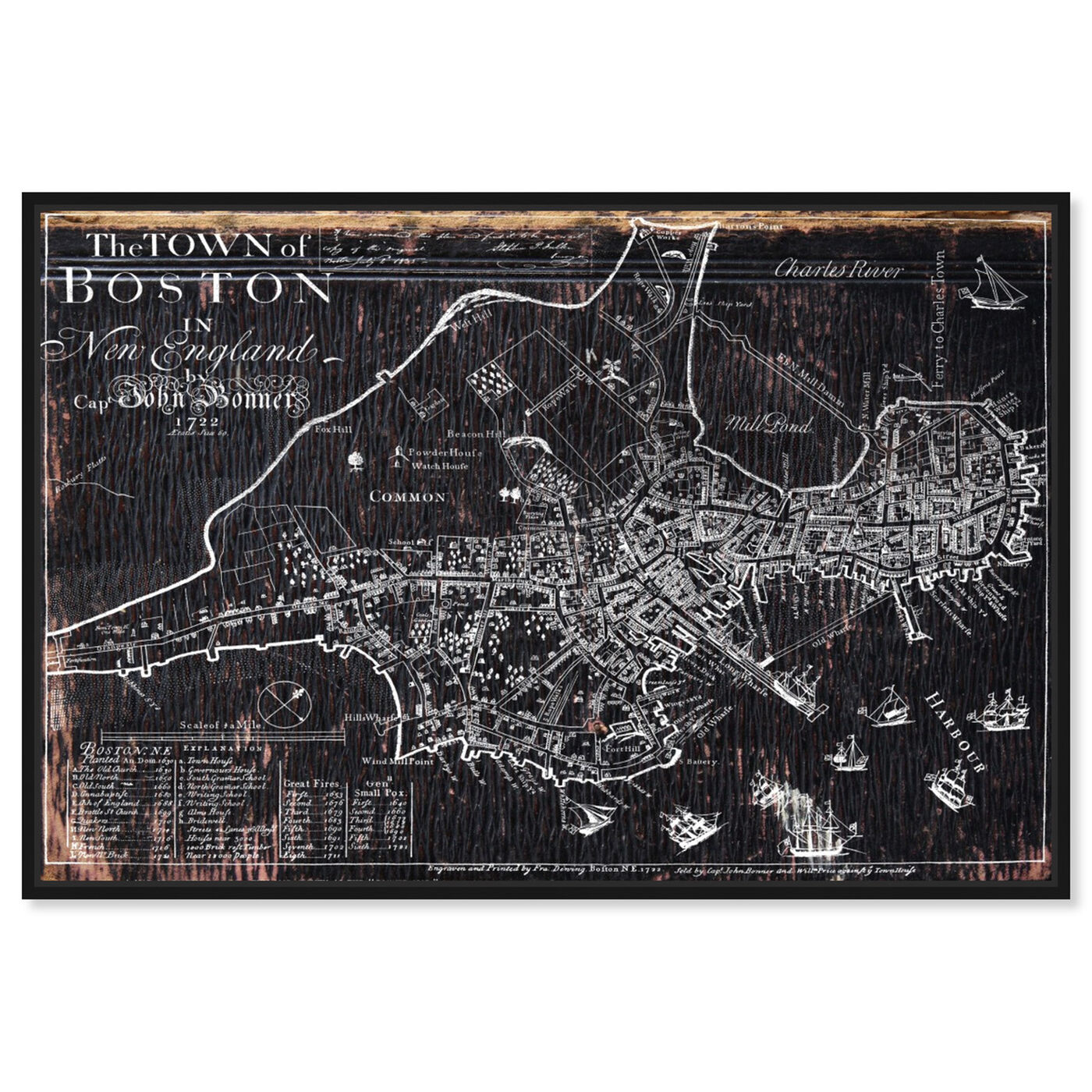 Front view of Town of Boston Map 1722 featuring maps and flags and us cities maps art.